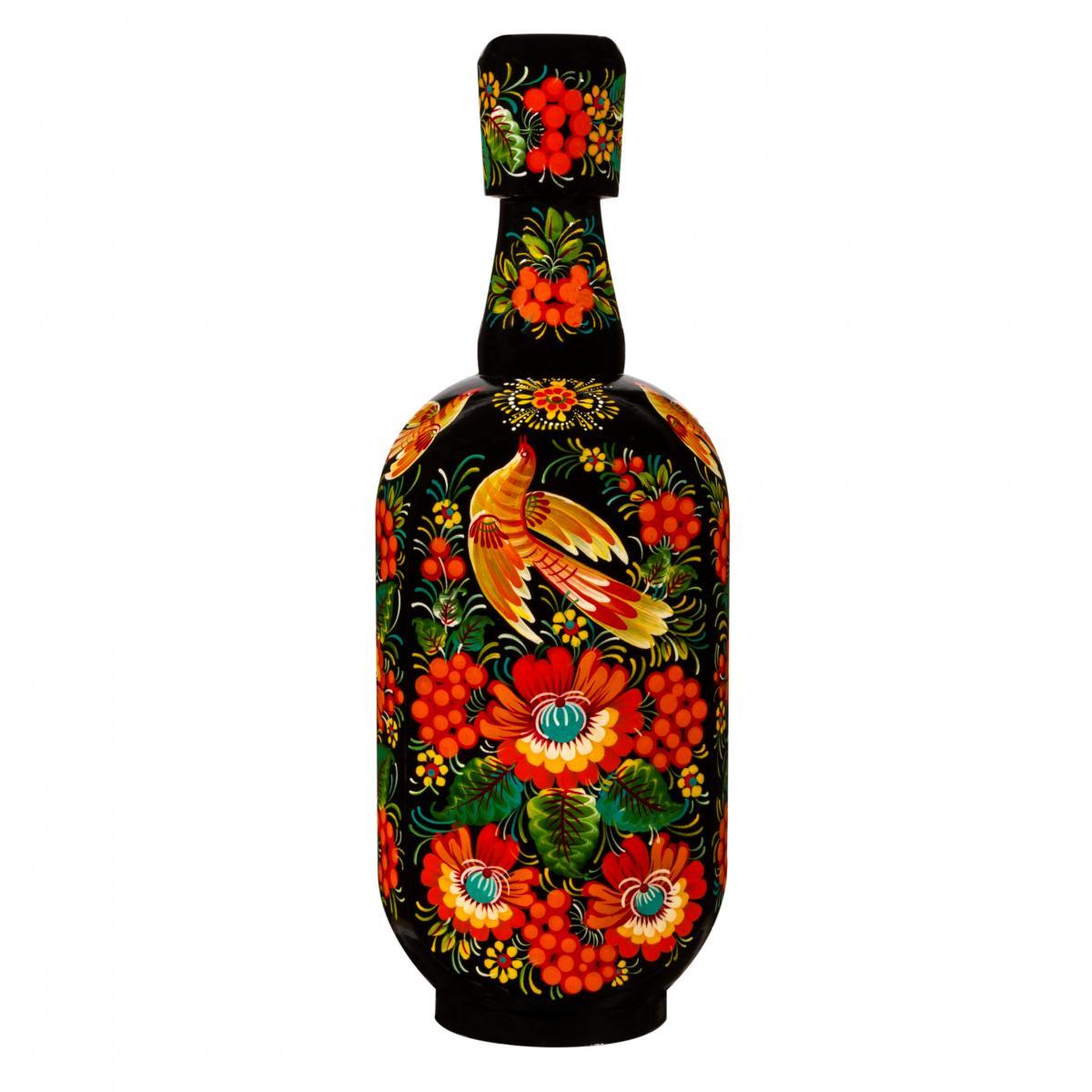 Glass bottle in wooden decoration with Petrykivskiy painting, black, 0,5 l. Photo №1. | Narodnyi dim Ukraine