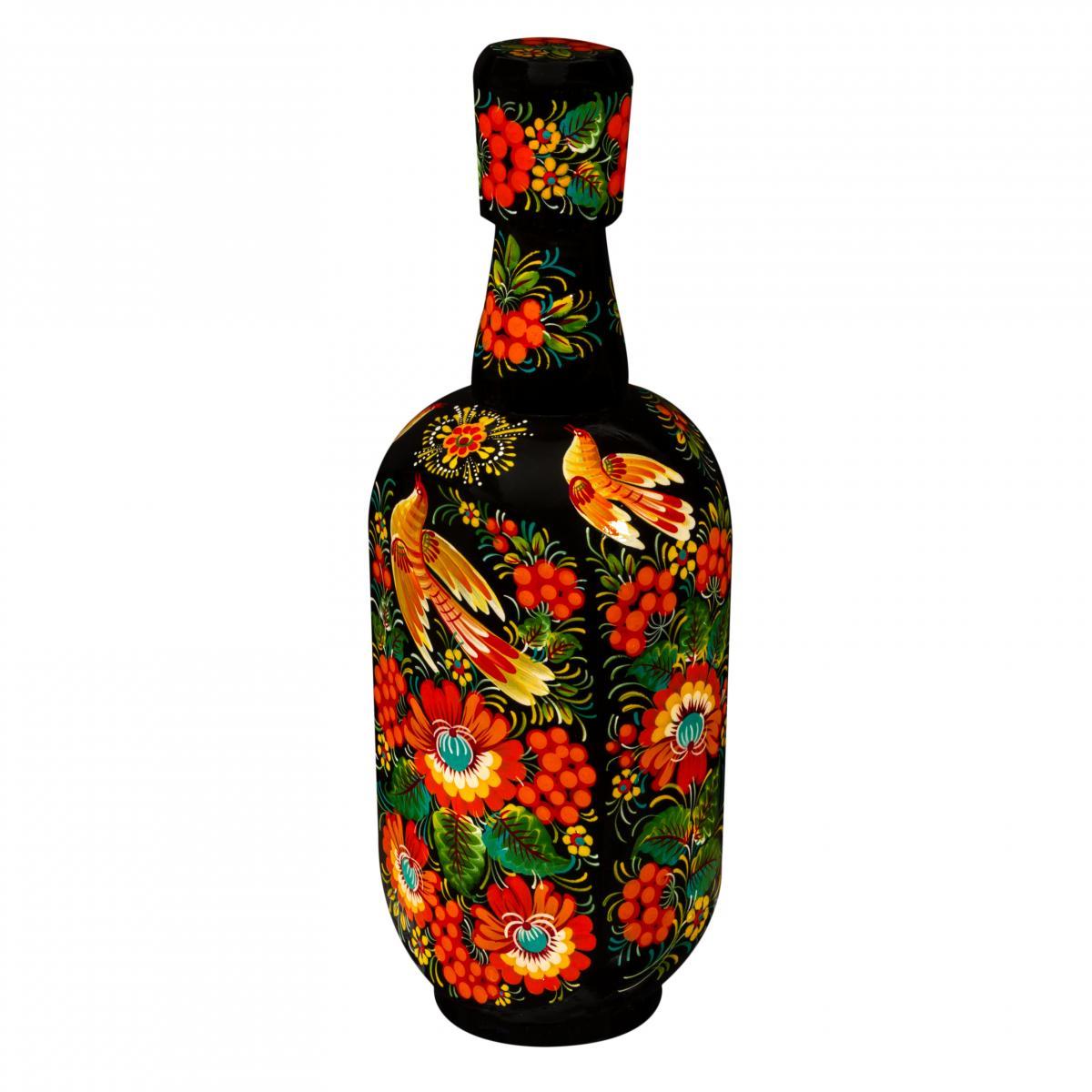 Glass bottle in wooden decoration with Petrykivskiy painting, black, 0,5 l. Photo №2. | Narodnyi dim Ukraine