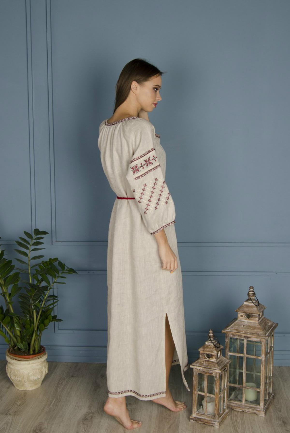 Linen gray long dress with red embroidery. Photo №3. | Narodnyi dim Ukraine
