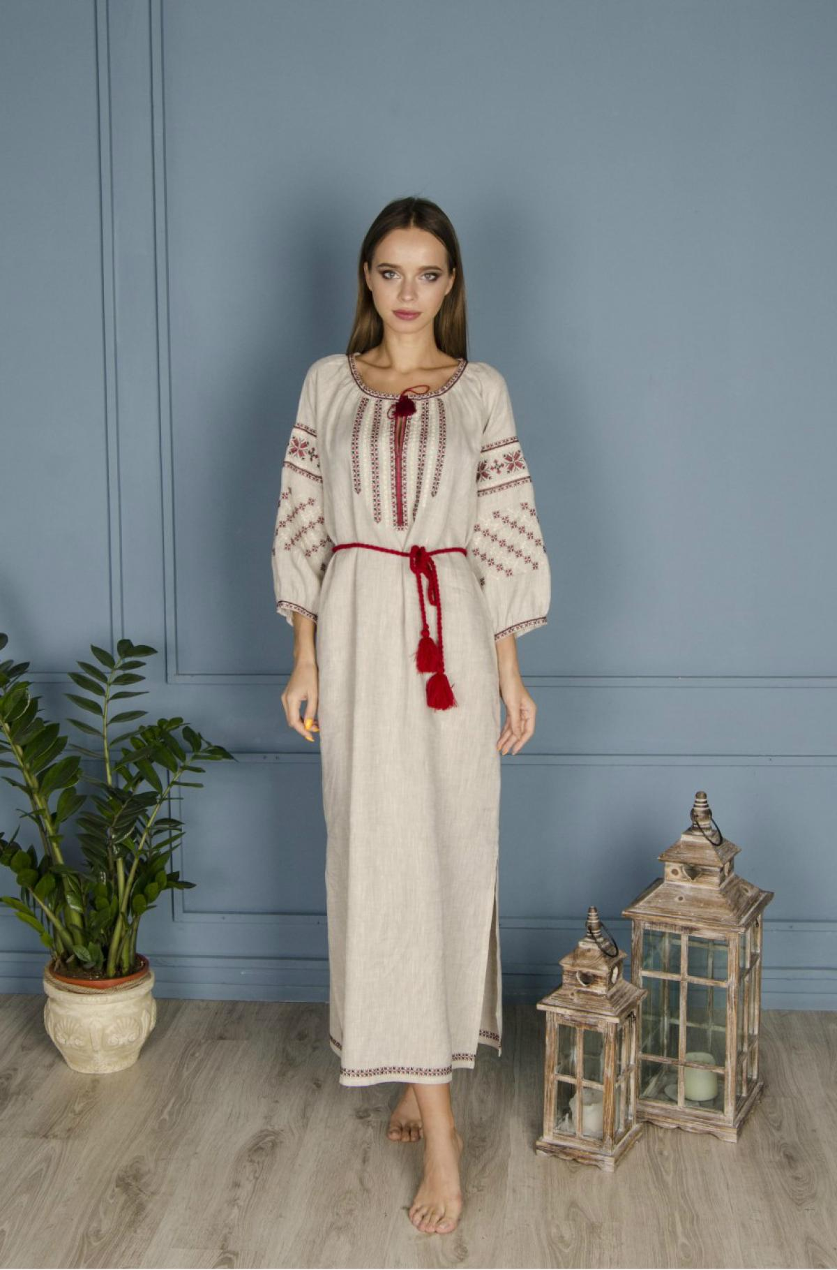 Linen gray long dress with red embroidery. Photo №1. | Narodnyi dim Ukraine