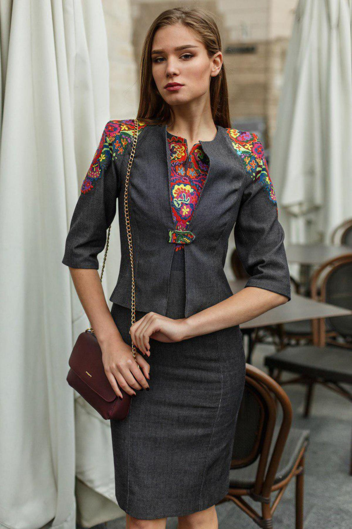 Embroidered suit dress+jacket for business woman, gray. Photo №1. | Narodnyi dim Ukraine