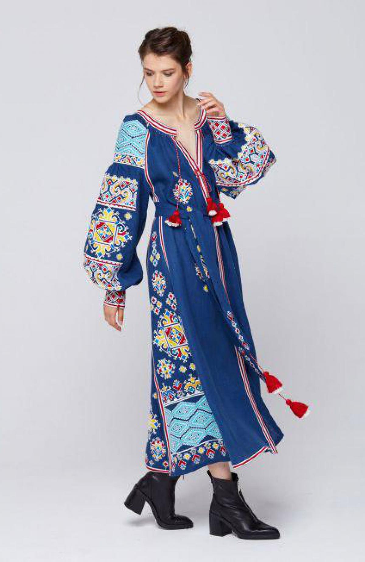 Designer blue linen embroidered long dress. Photo №1. | Narodnyi dim Ukraine
