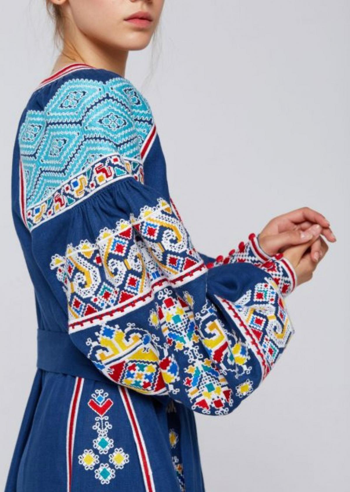 Designer blue linen embroidered long dress. Photo №2. | Narodnyi dim Ukraine