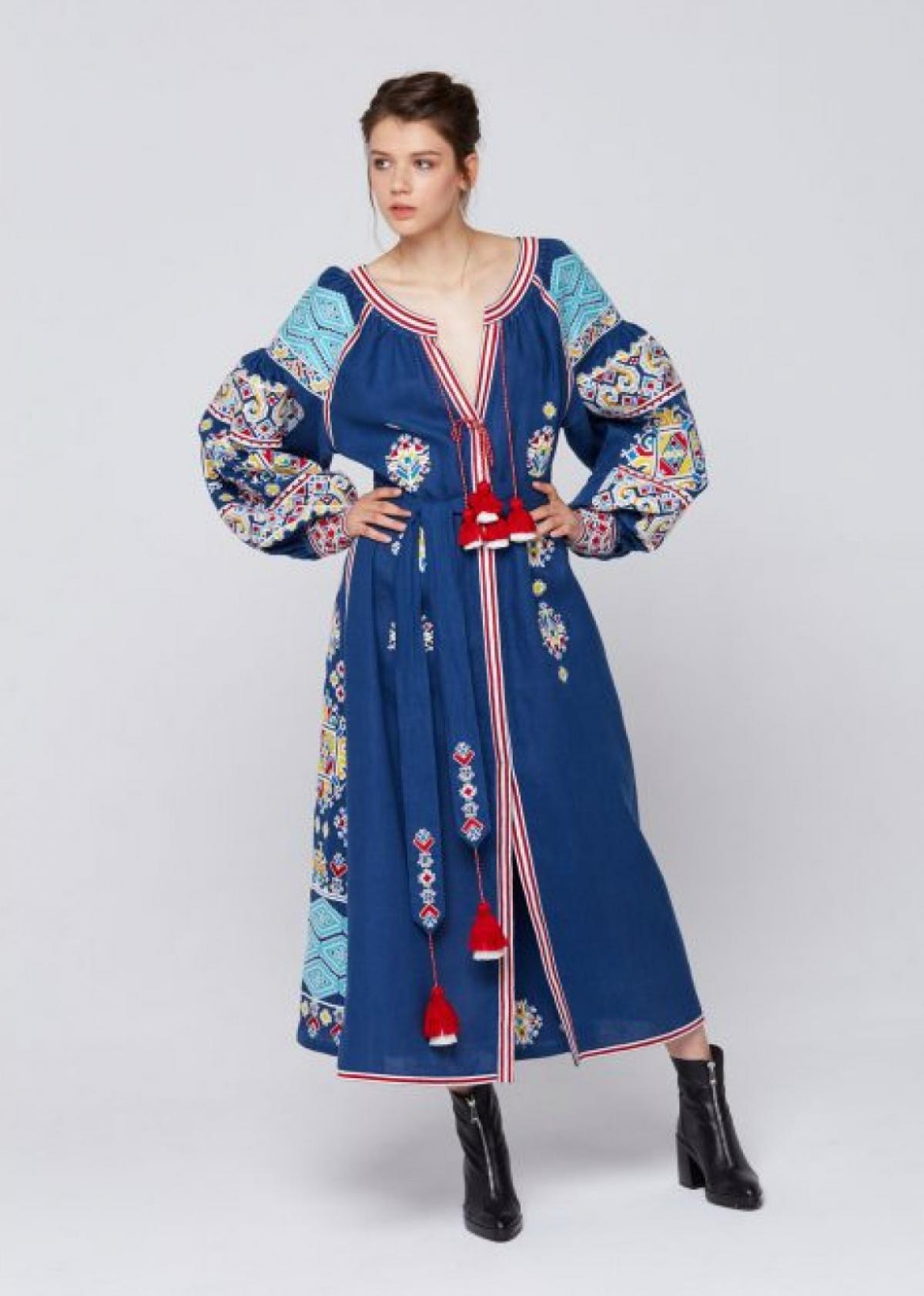 Designer blue linen embroidered long dress. Photo №3. | Narodnyi dim Ukraine