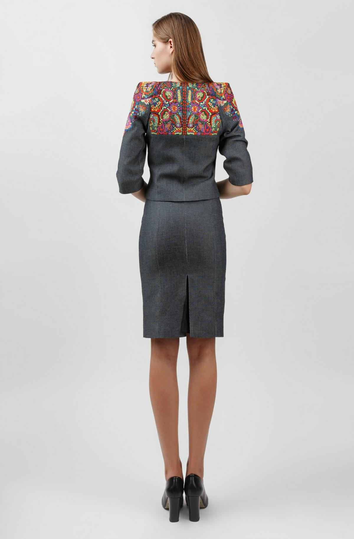 Embroidered suit dress+jacket for business woman, gray. Photo №4. | Narodnyi dim Ukraine