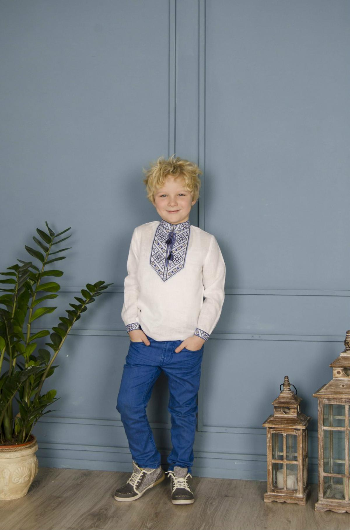 White embroidery for a boy with a blue-gray pattern. Photo №2. | Narodnyi dim Ukraine