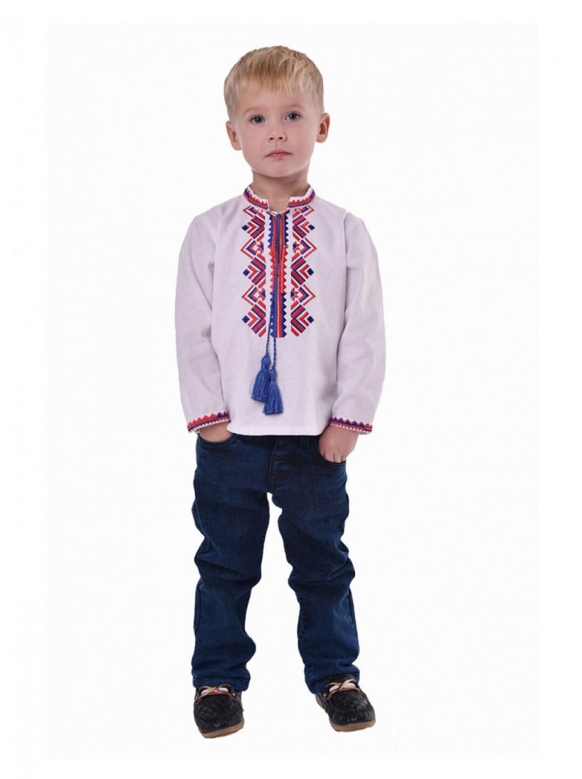 Вышиванка для мальчика с сине-красным узором. Фото №1. | Народный дом Украина
