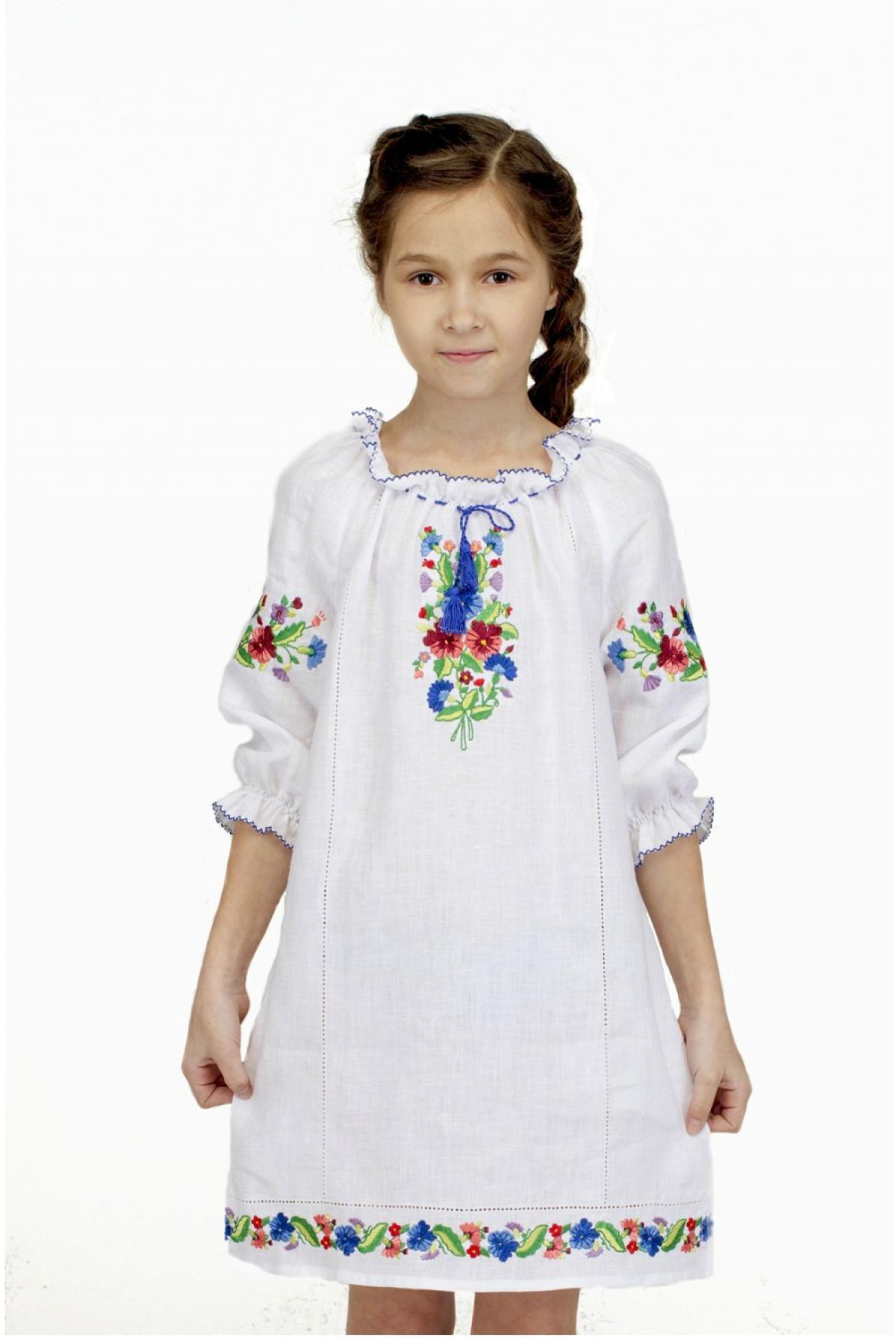 Вышитое белое платье для девочки, Фиалка. Фото №1. | Народный дом Украина