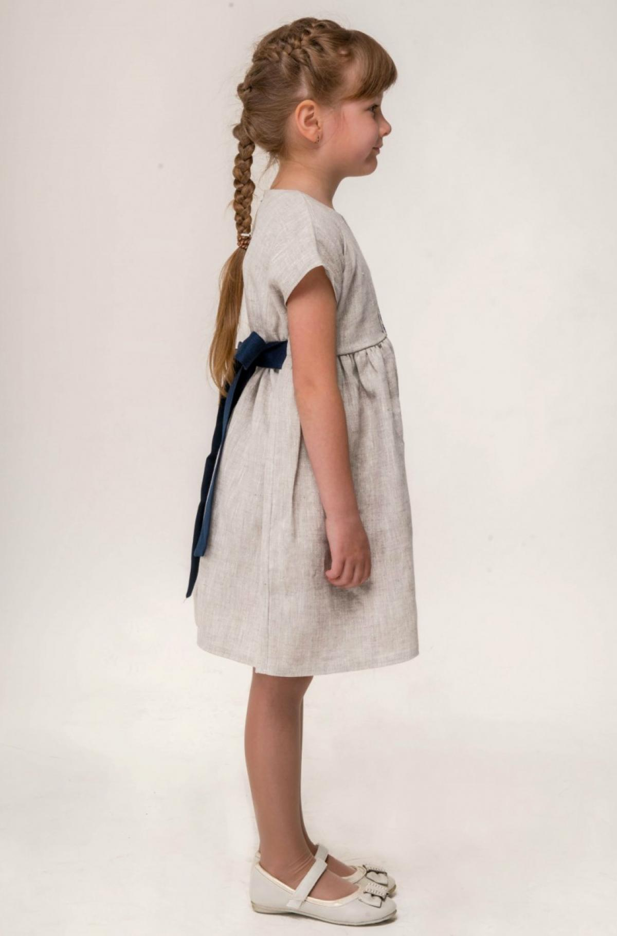 Linen gray dress for a girl with blue embroidery and a belt. Photo №2. | Narodnyi dim Ukraine