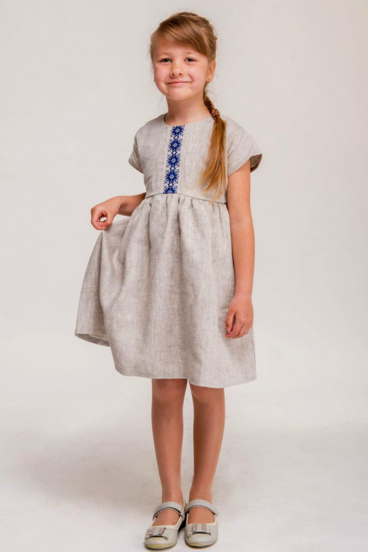 Linen gray dress for a girl with blue embroidery and a belt. Photo №1. | Narodnyi dim Ukraine
