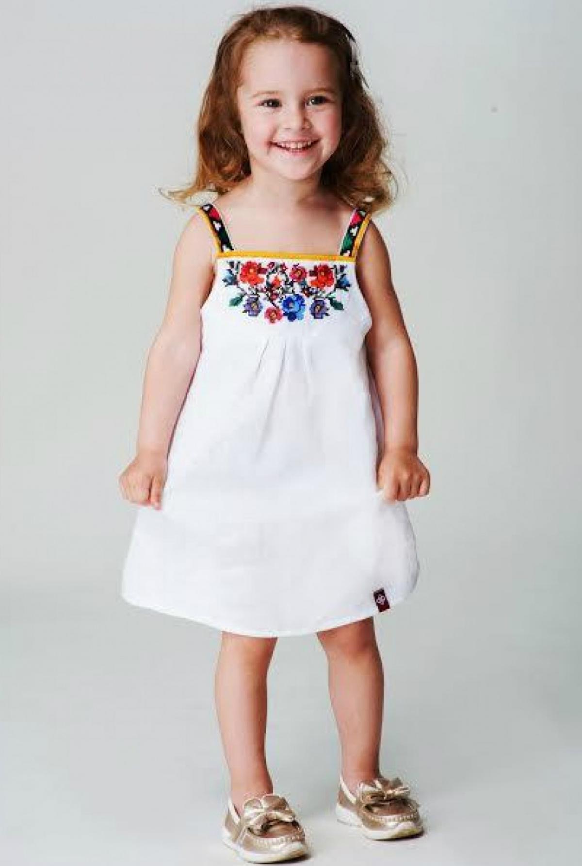 Вышитая белое платье для девочки Борщевская. Фото №1. | Народный дом Украина