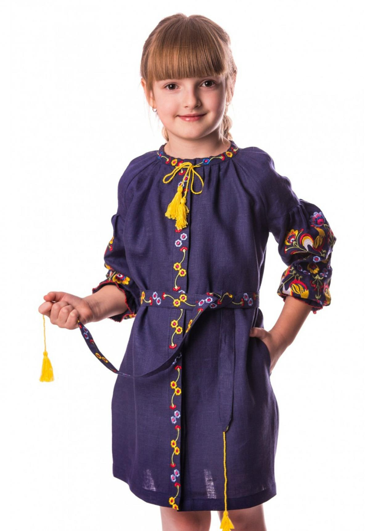 Embroidered blue dress with roosters for the girl. Photo №1. | Narodnyi dim Ukraine