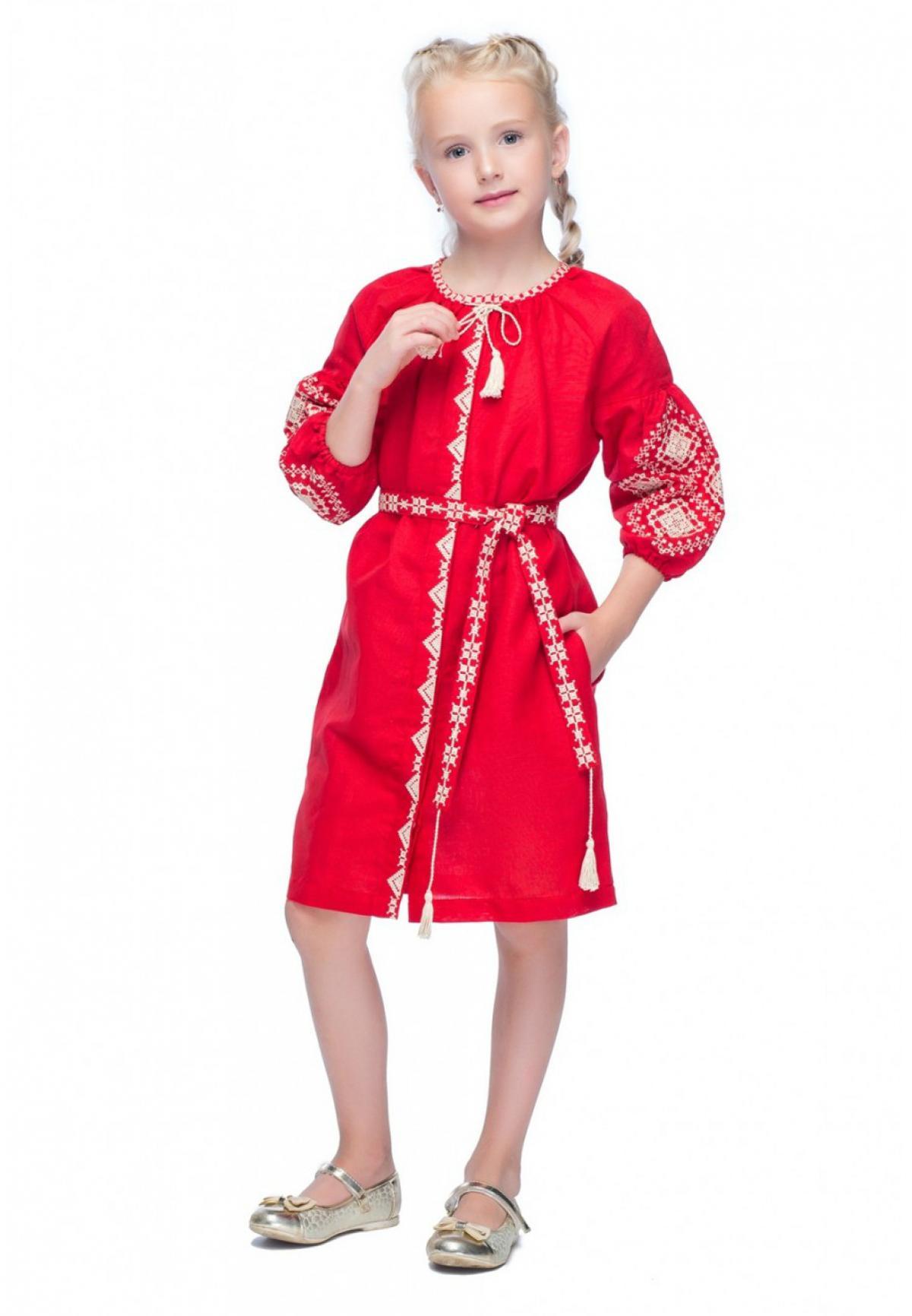 Красное вышитое платье для девочки. Фото №1. | Народный дом Украина