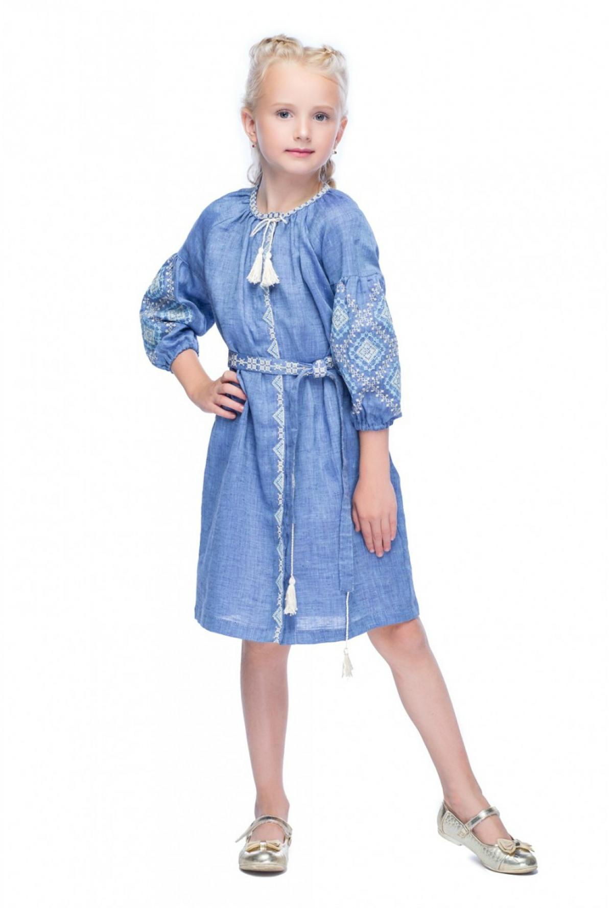 Embroidered dress for the girl of denim color. Photo №1. | Narodnyi dim Ukraine