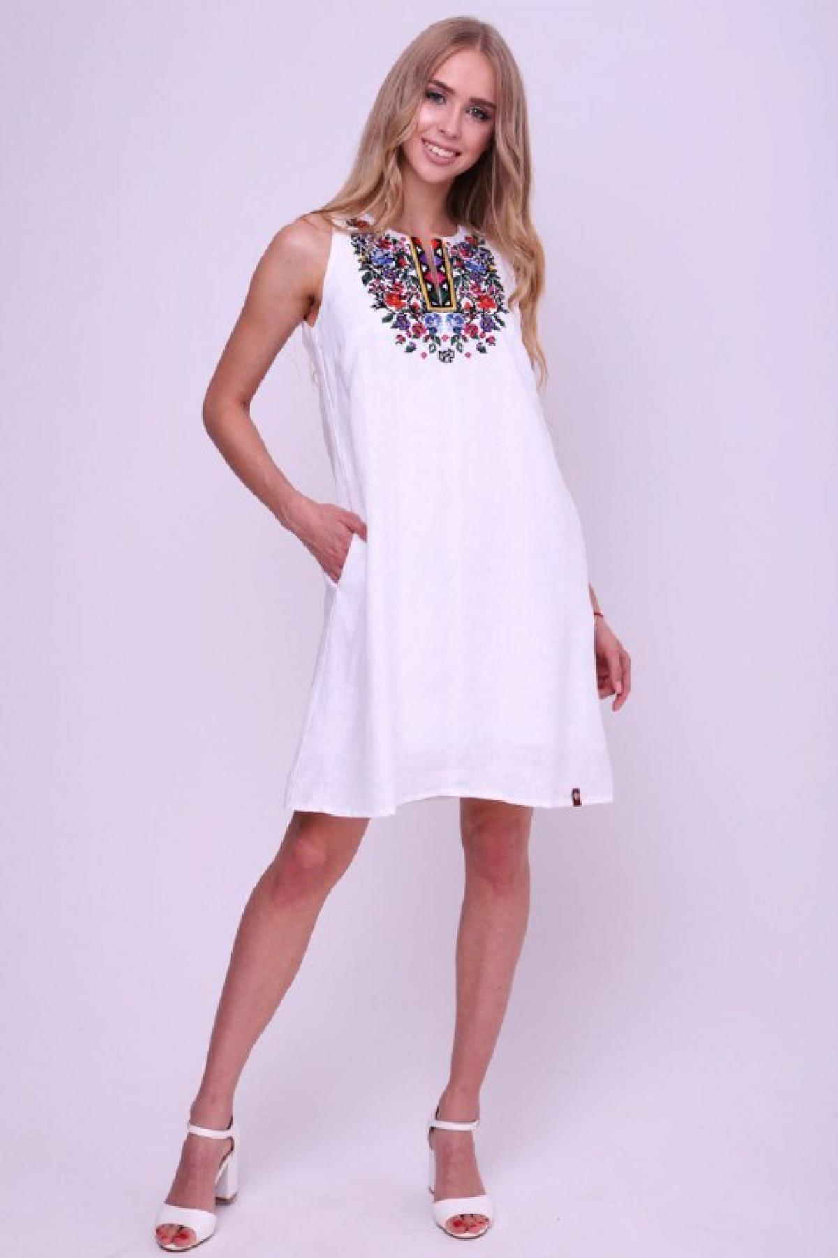 Lightweight white linen dress with embroidery. Photo №1. | Narodnyi dim Ukraine