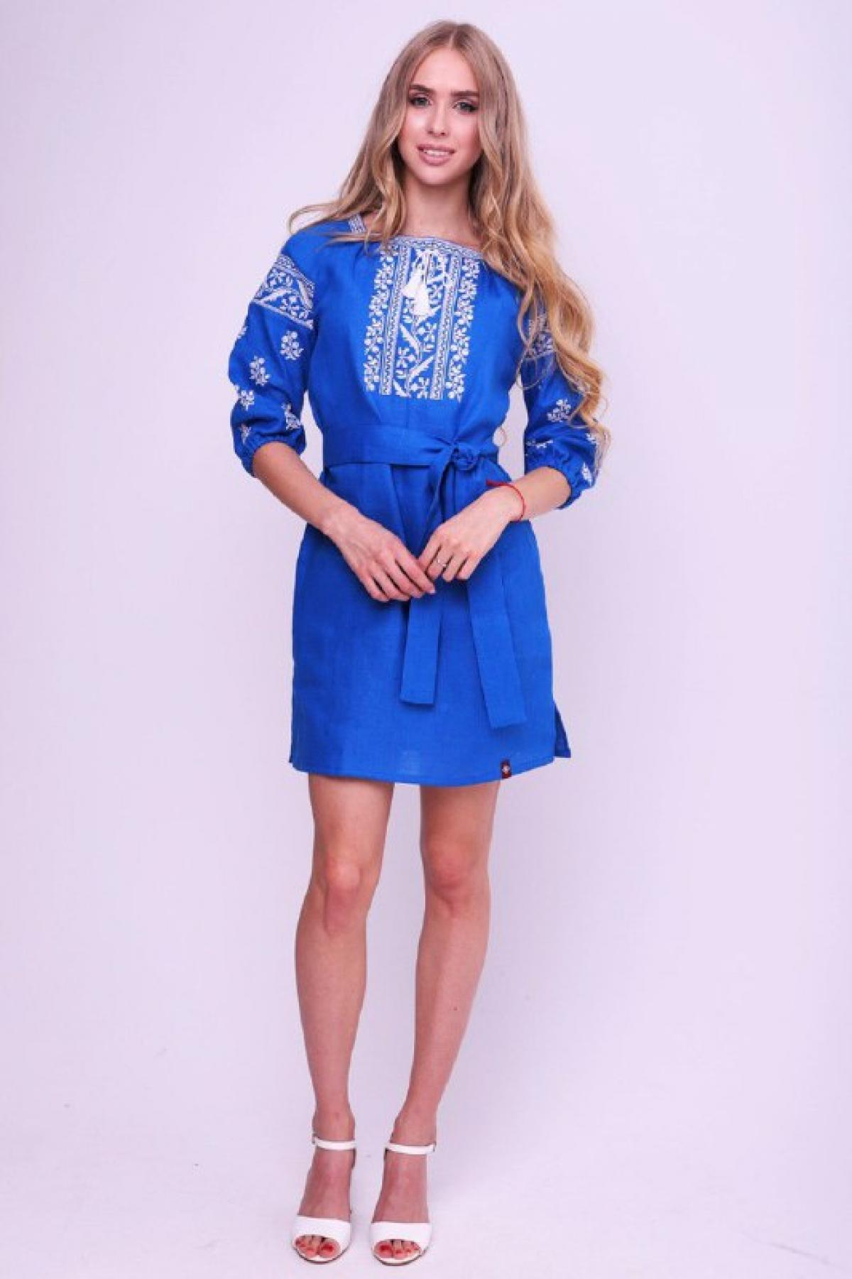 Rich blue dress with contrasting white embroidery. Photo №1. | Narodnyi dim Ukraine