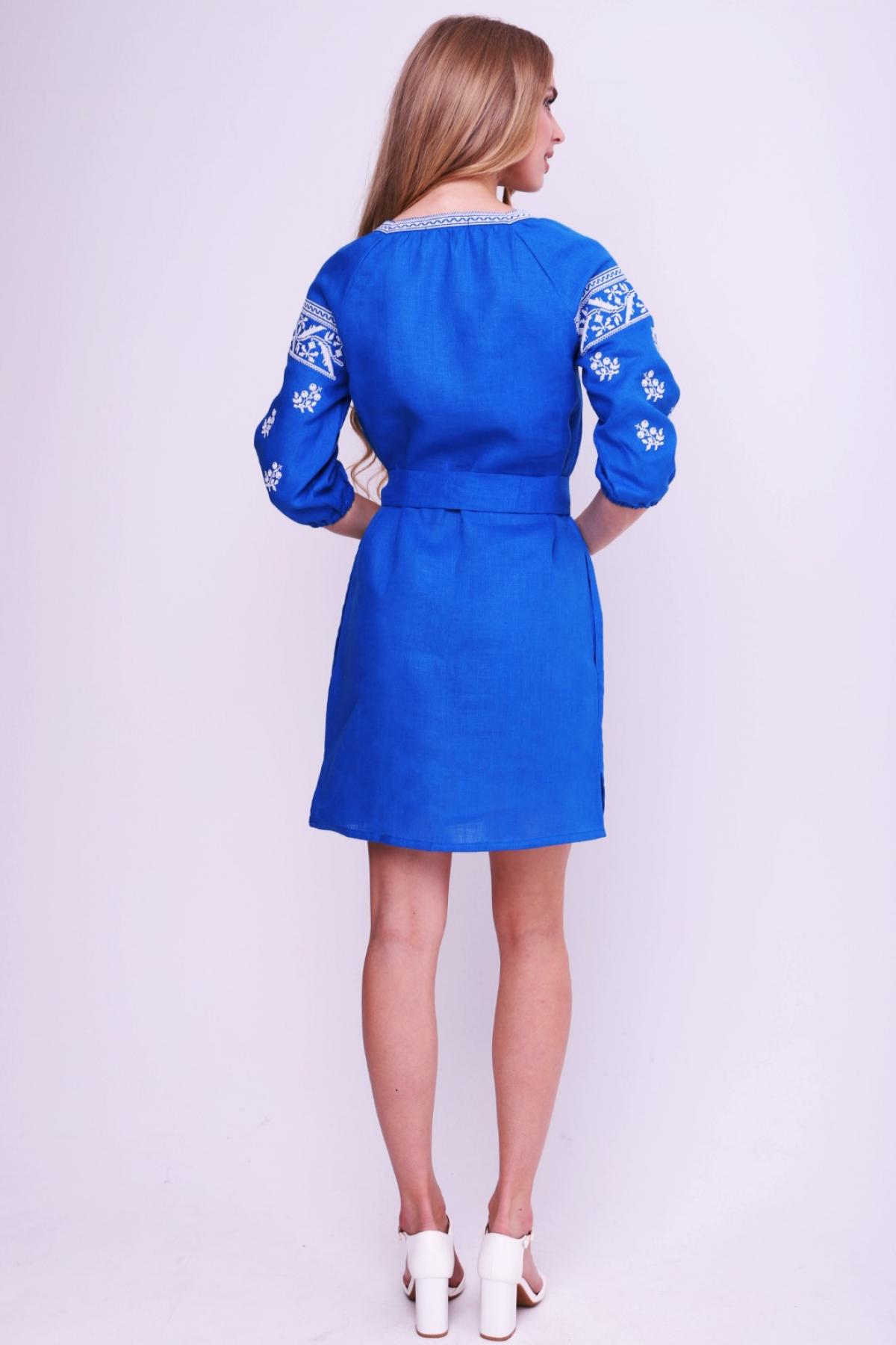 Rich blue dress with contrasting white embroidery. Photo №2. | Narodnyi dim Ukraine