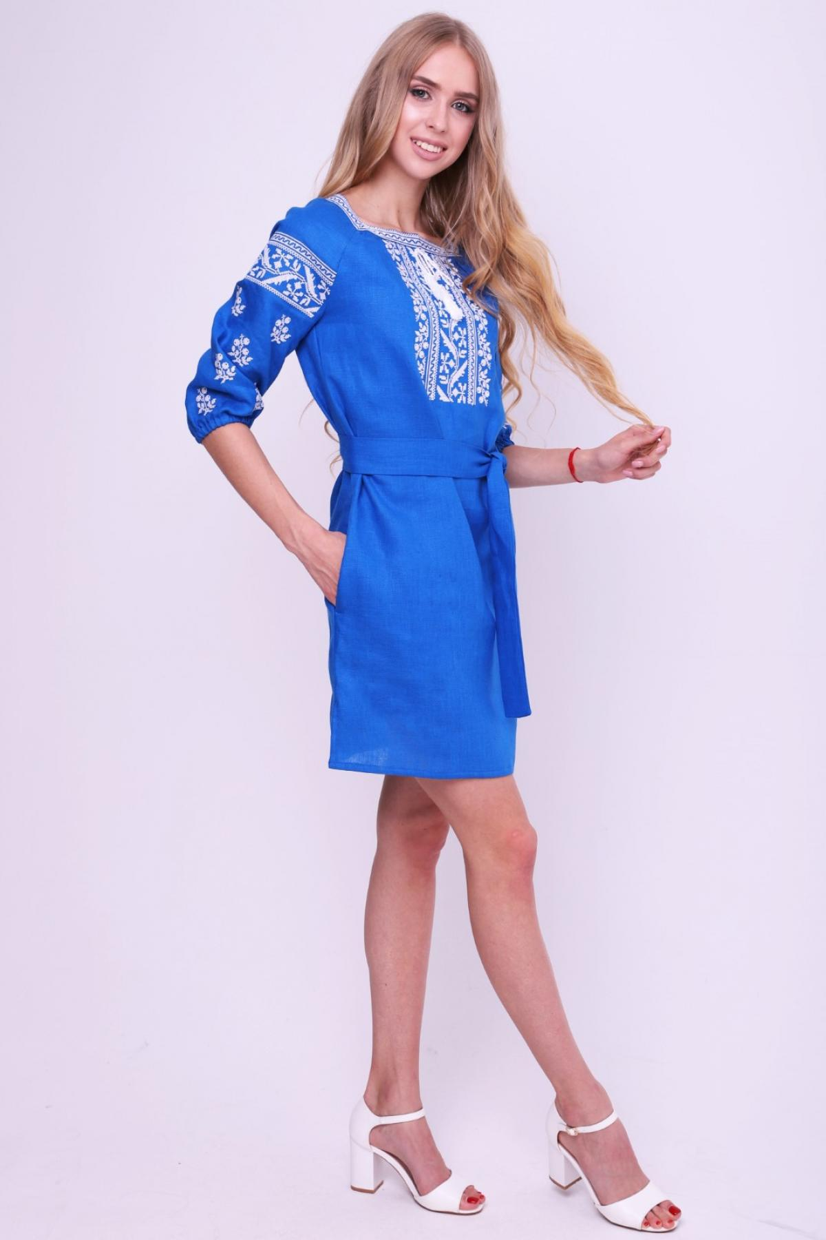 Rich blue dress with contrasting white embroidery. Photo №3. | Narodnyi dim Ukraine