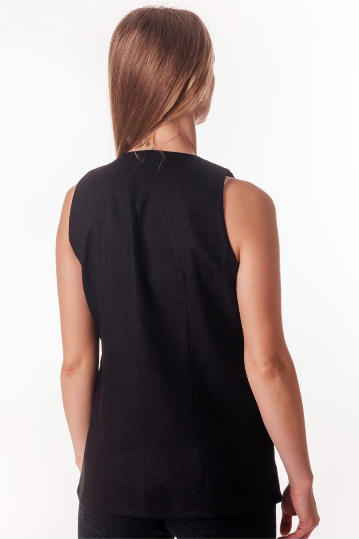 Black sleeveless embroidery. Photo №2. | Narodnyi dim Ukraine