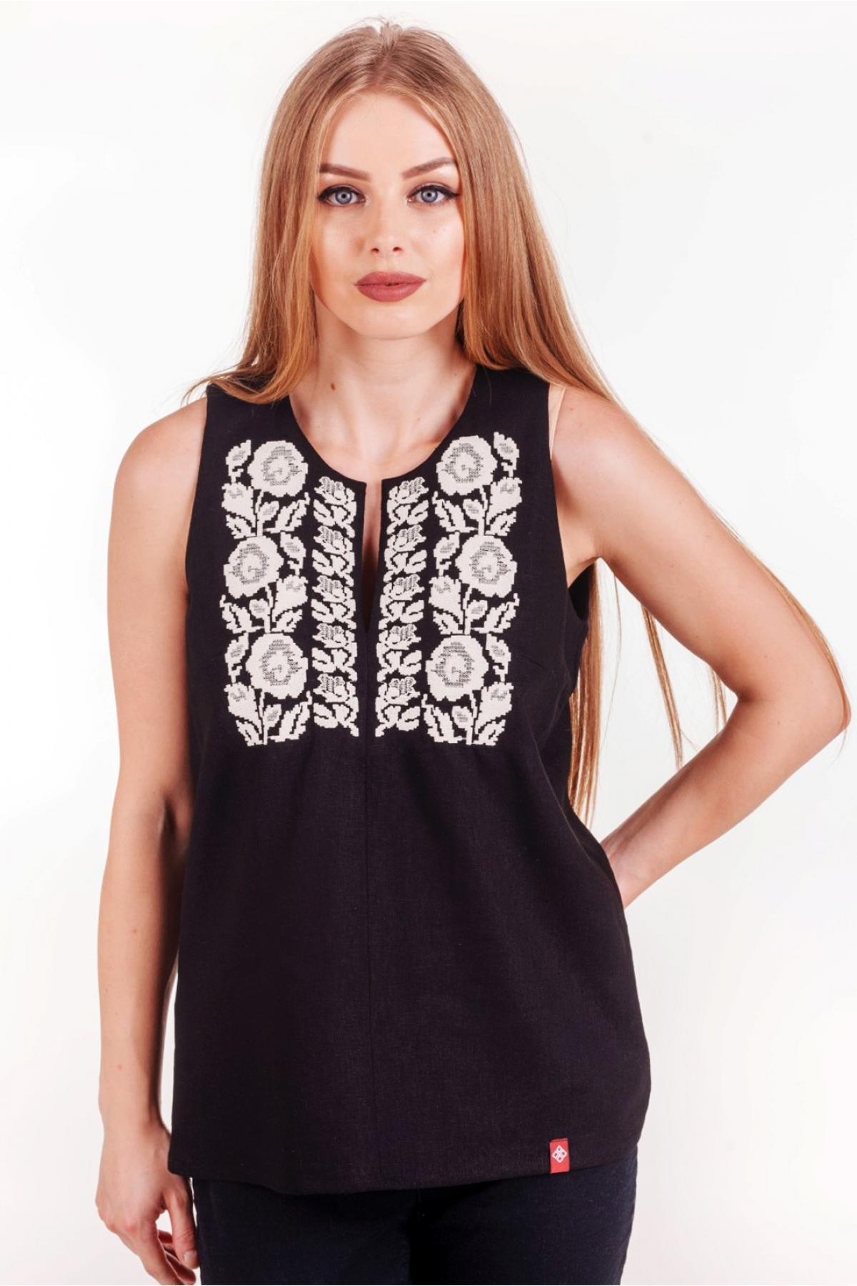Black sleeveless embroidery. Photo №1. | Narodnyi dim Ukraine