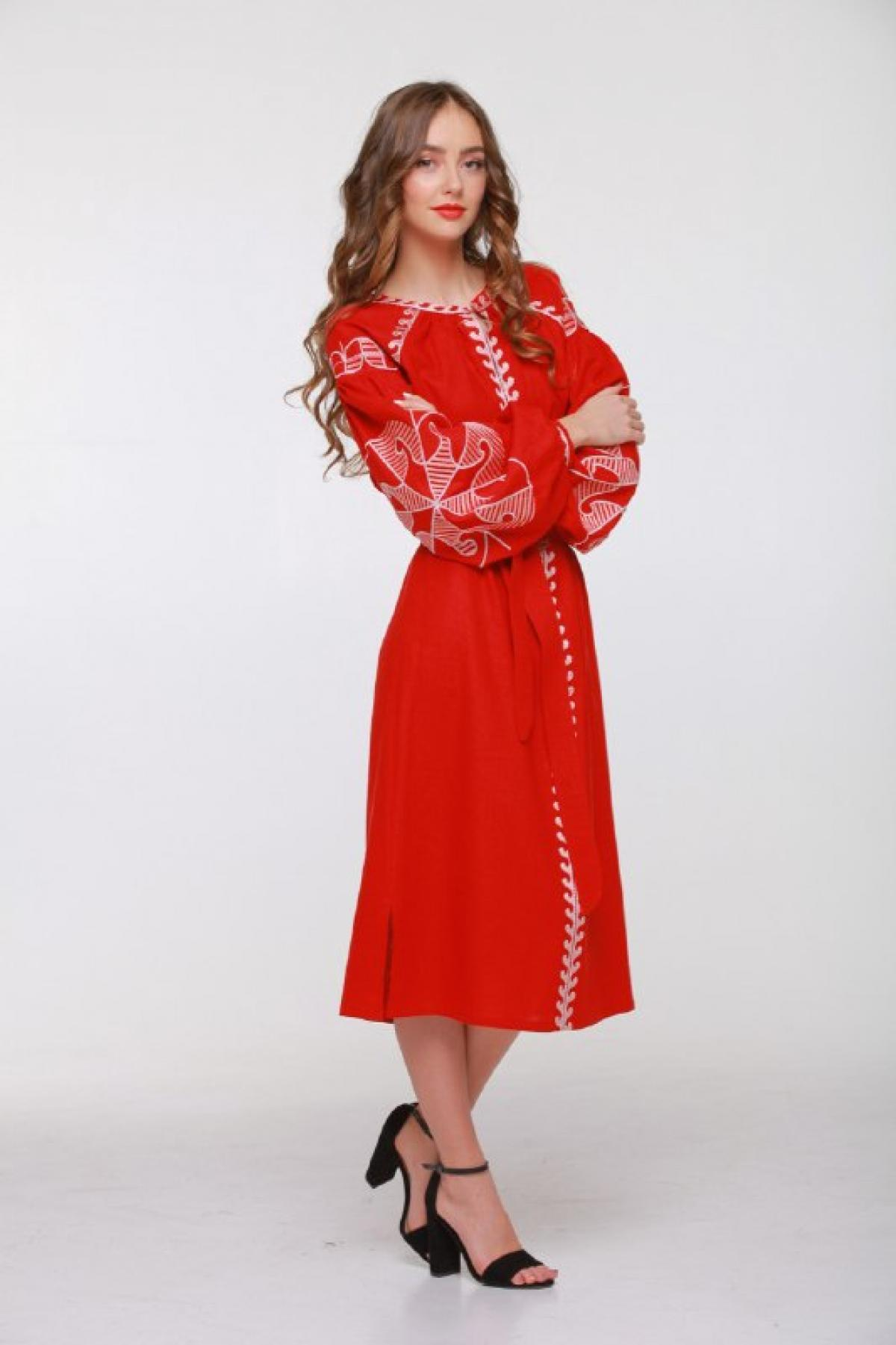 Red embroidered dress with embroidery on sleeves and chest. Photo №2. | Narodnyi dim Ukraine