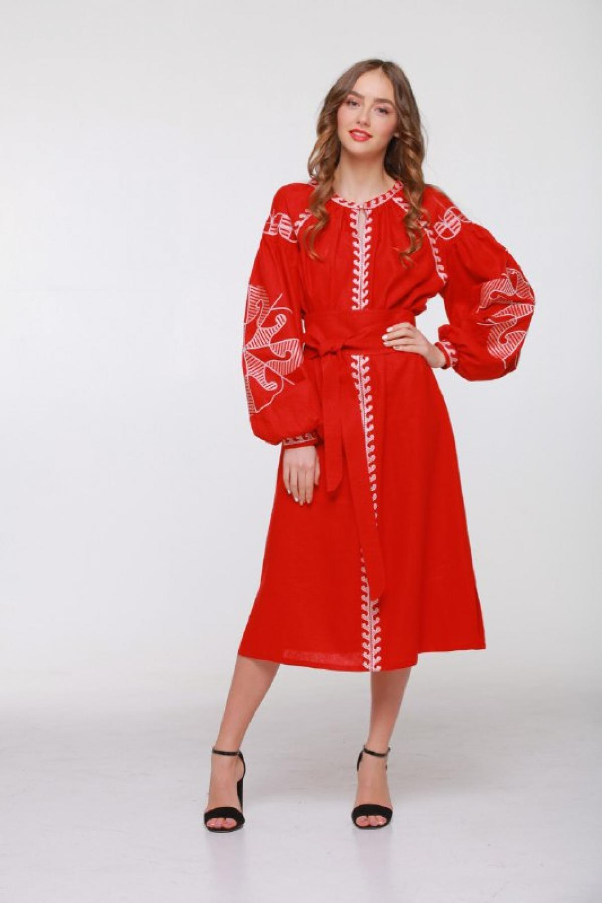 Red embroidered dress with embroidery on sleeves and chest. Photo №1. | Narodnyi dim Ukraine