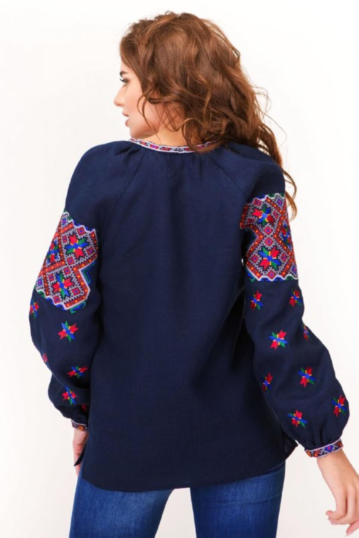 Dark blue female embroidery with star Alatyr. Photo №2. | Narodnyi dim Ukraine