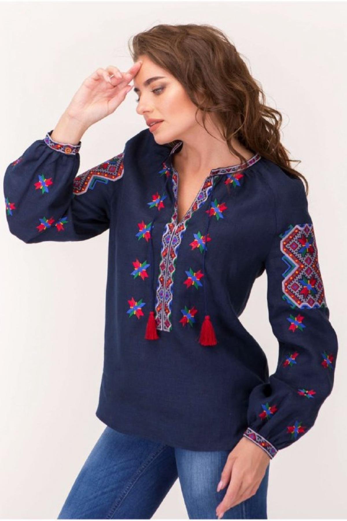 Dark blue female embroidery with star Alatyr. Photo №3. | Narodnyi dim Ukraine