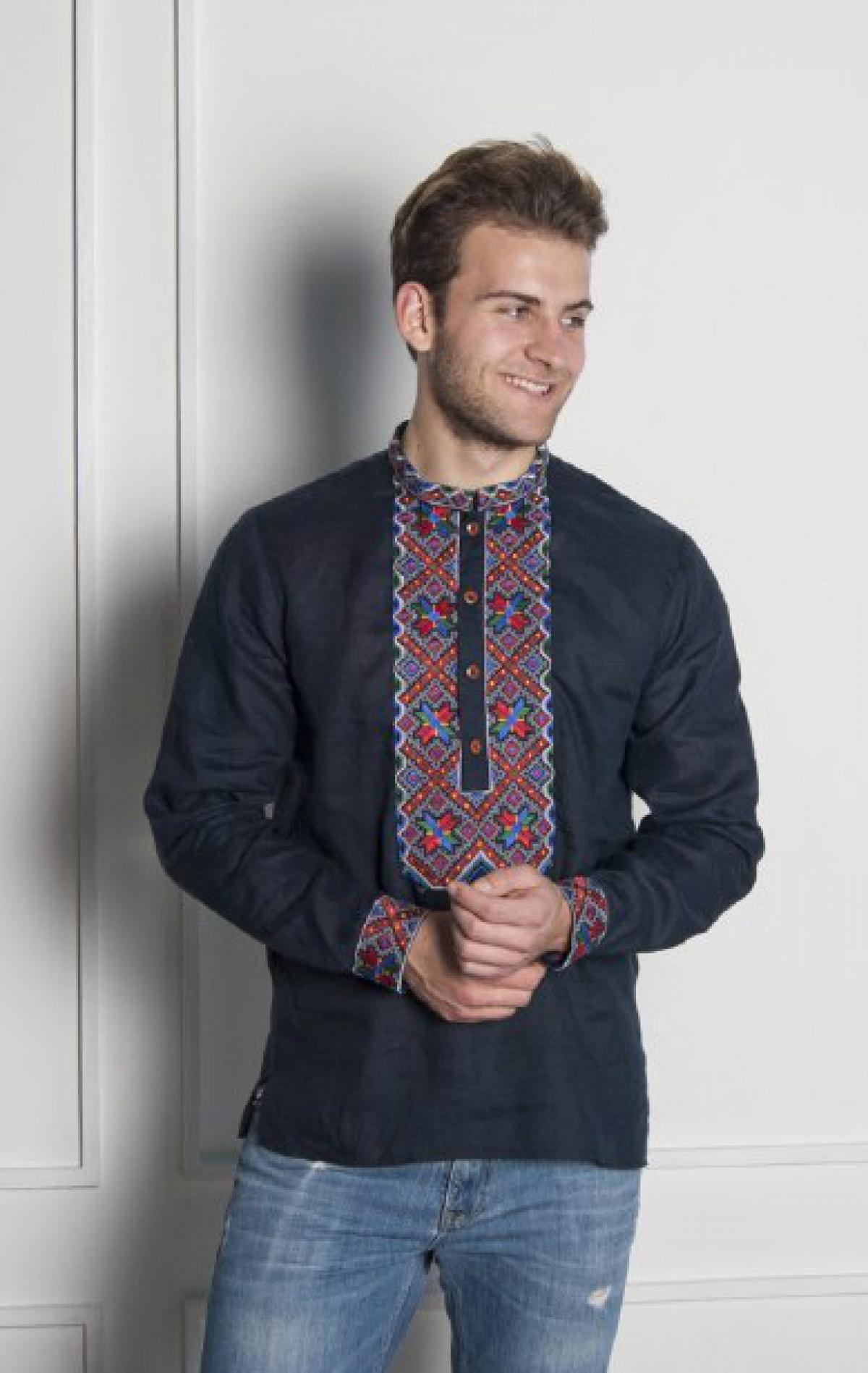 Dark blue male embroidery with colorful pattern. Photo №2. | Narodnyi dim Ukraine