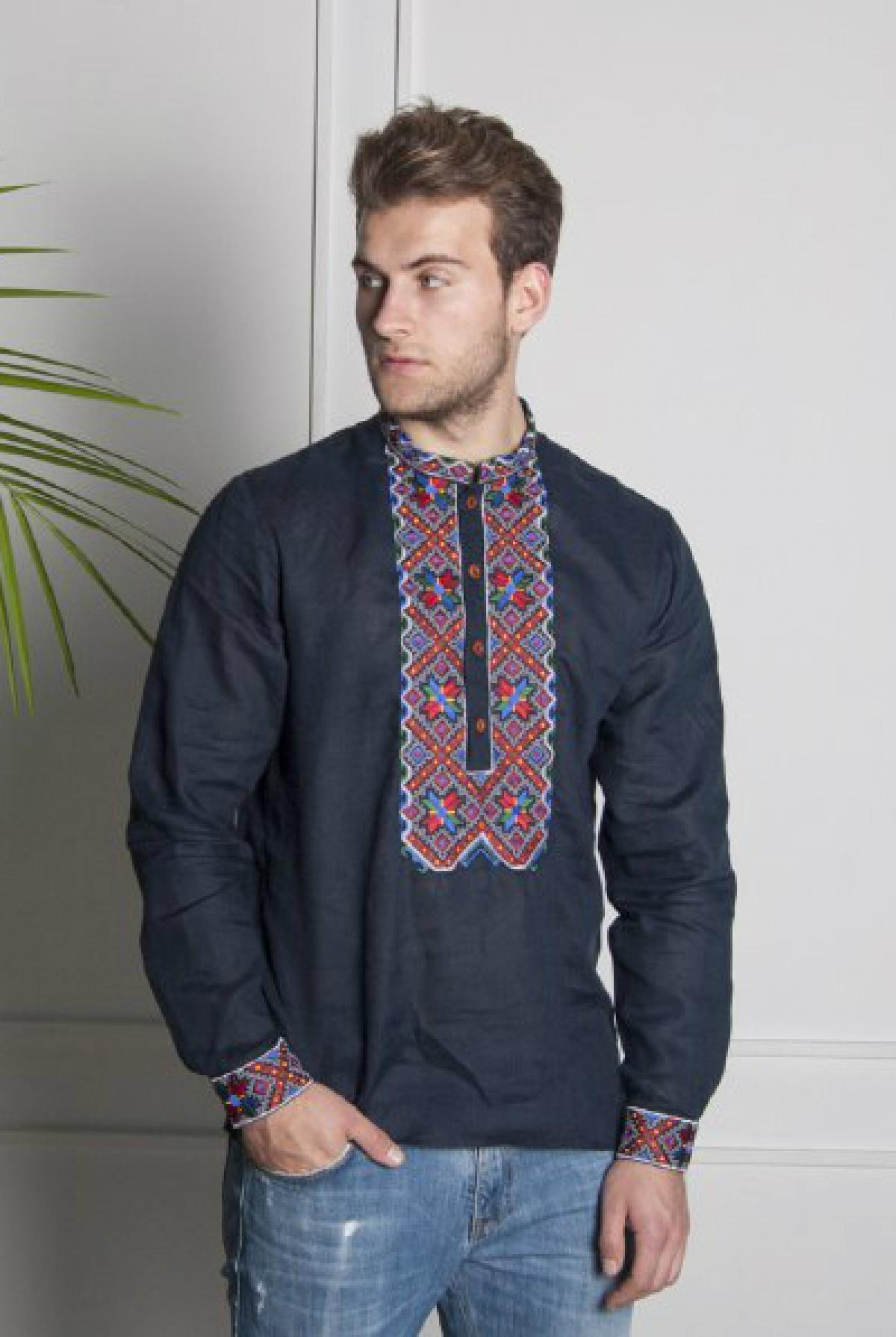 Dark blue male embroidery with colorful pattern. Photo №1. | Narodnyi dim Ukraine