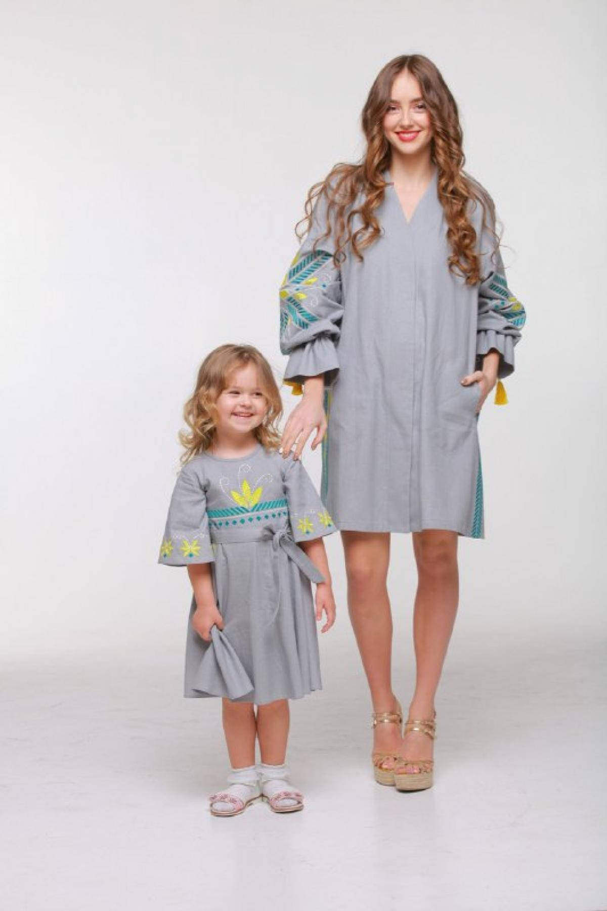 Embroidered grey tunic dress. Photo №2. | Narodnyi dim Ukraine