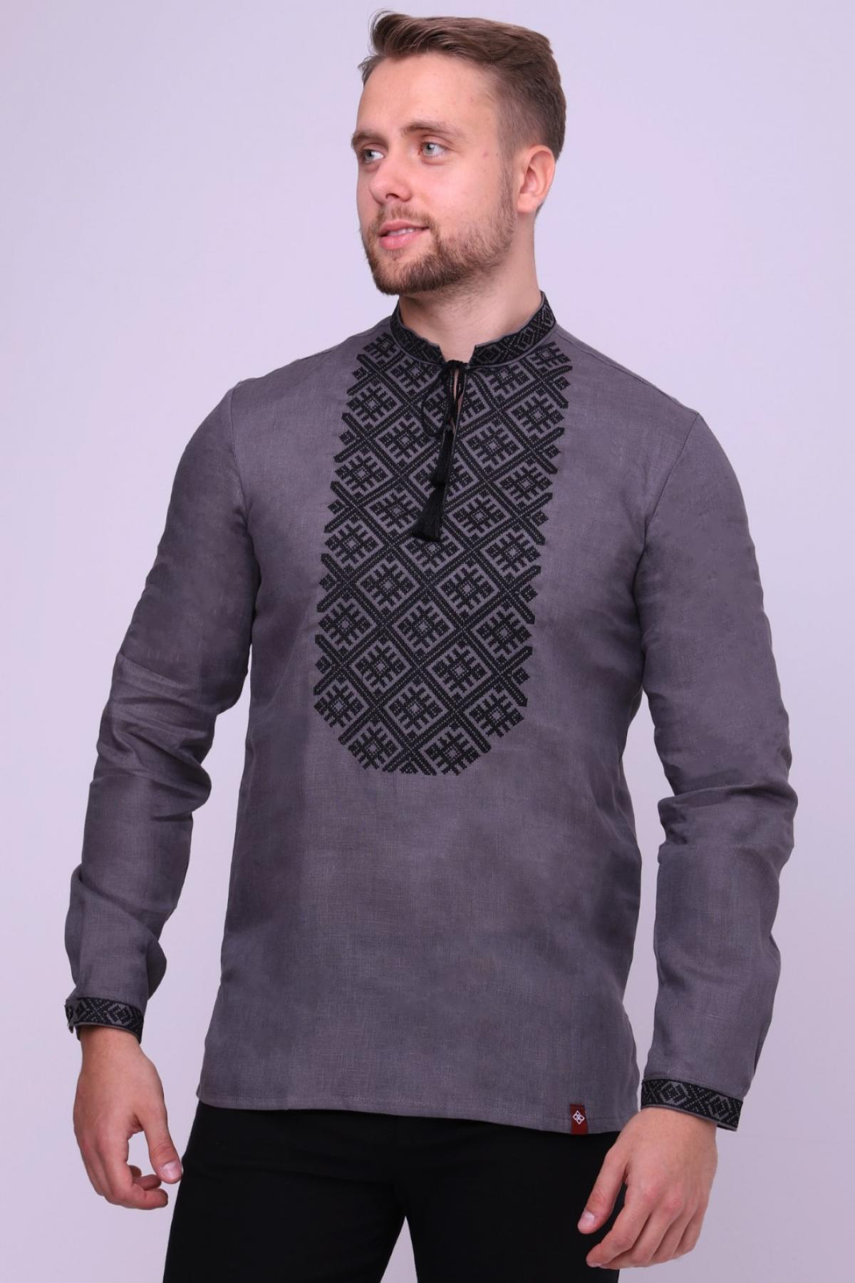 Male graphite embroidered shirt with black embroidery. Photo №1. | Narodnyi dim Ukraine