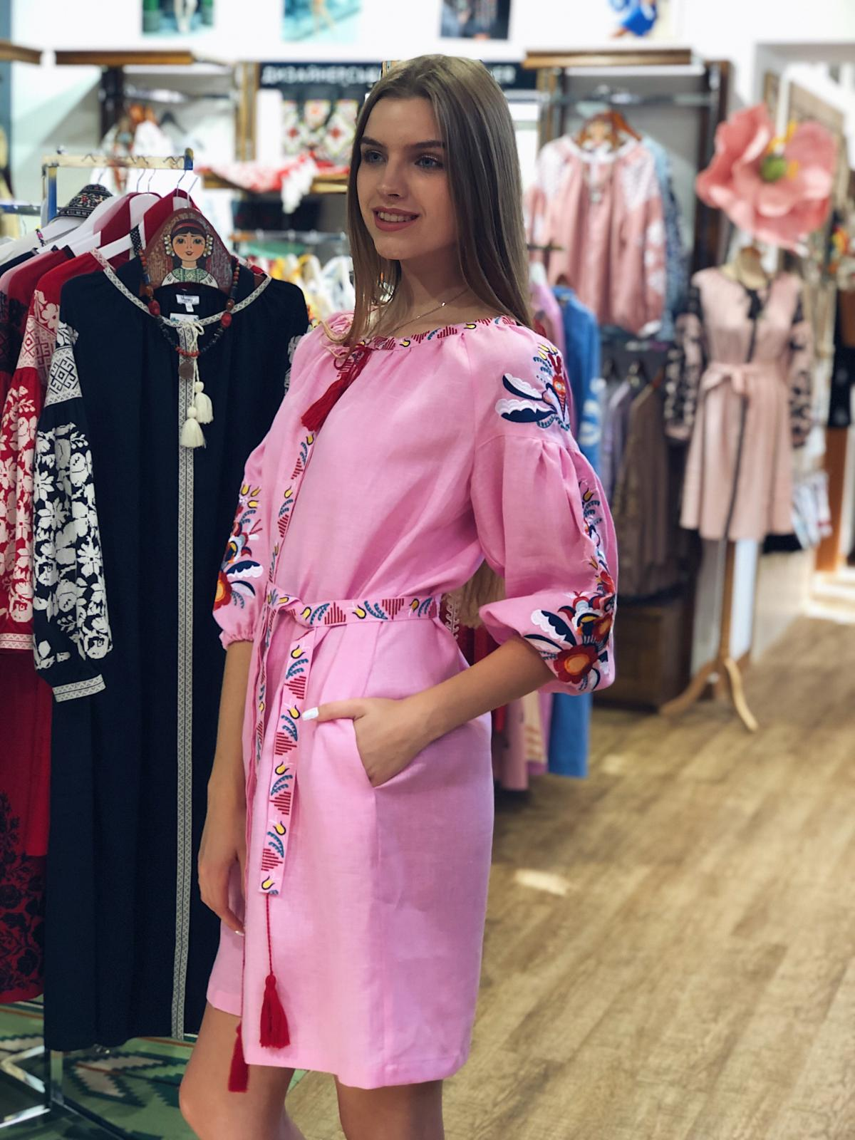 Bright medium-length embroidered pink dress. Photo №3. | Narodnyi dim Ukraine