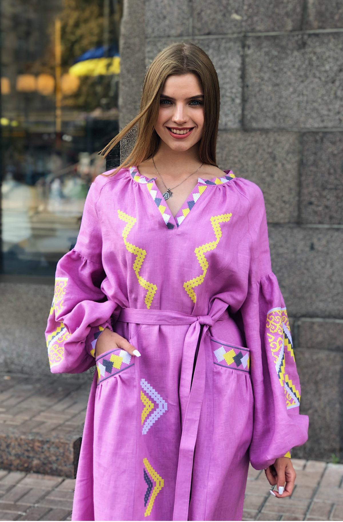 Изысканное длинное платье с красивой вышивкой, розовое. Фото №1. | Народный дом Украина