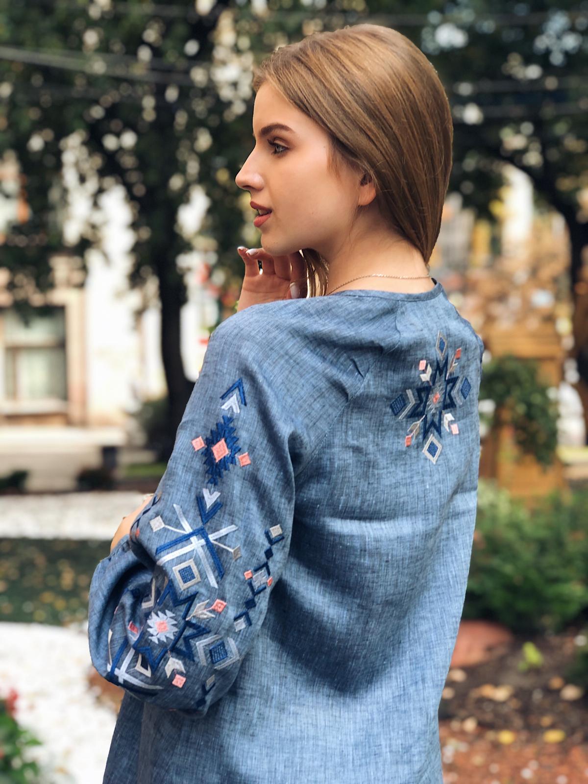 Embroidered dress of blue jeans color. Photo №2. | Narodnyi dim Ukraine