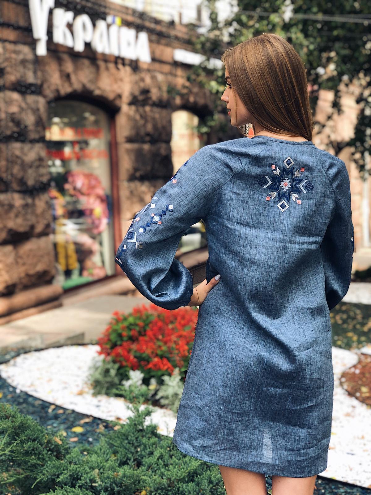 Embroidered dress of blue jeans color. Photo №3. | Narodnyi dim Ukraine