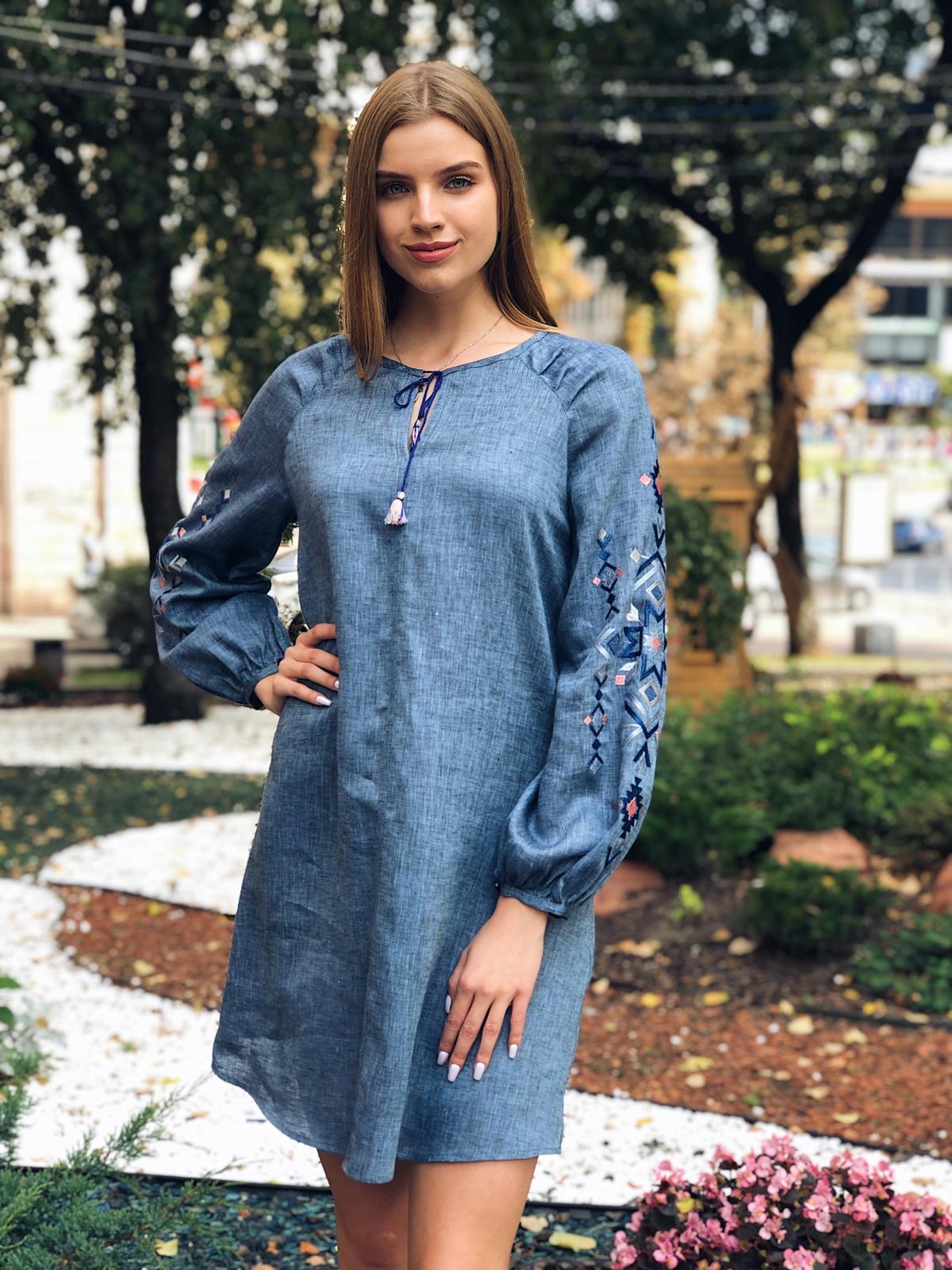 Embroidered dress of blue jeans color. Photo №4. | Narodnyi dim Ukraine