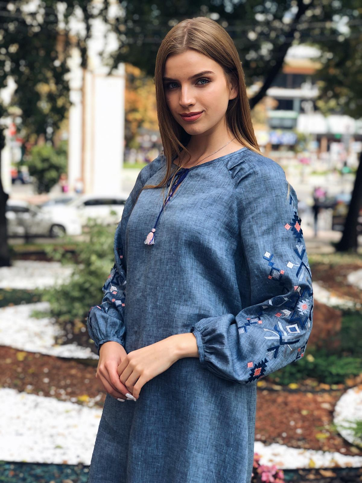 Embroidered dress of blue jeans color. Photo №5. | Narodnyi dim Ukraine