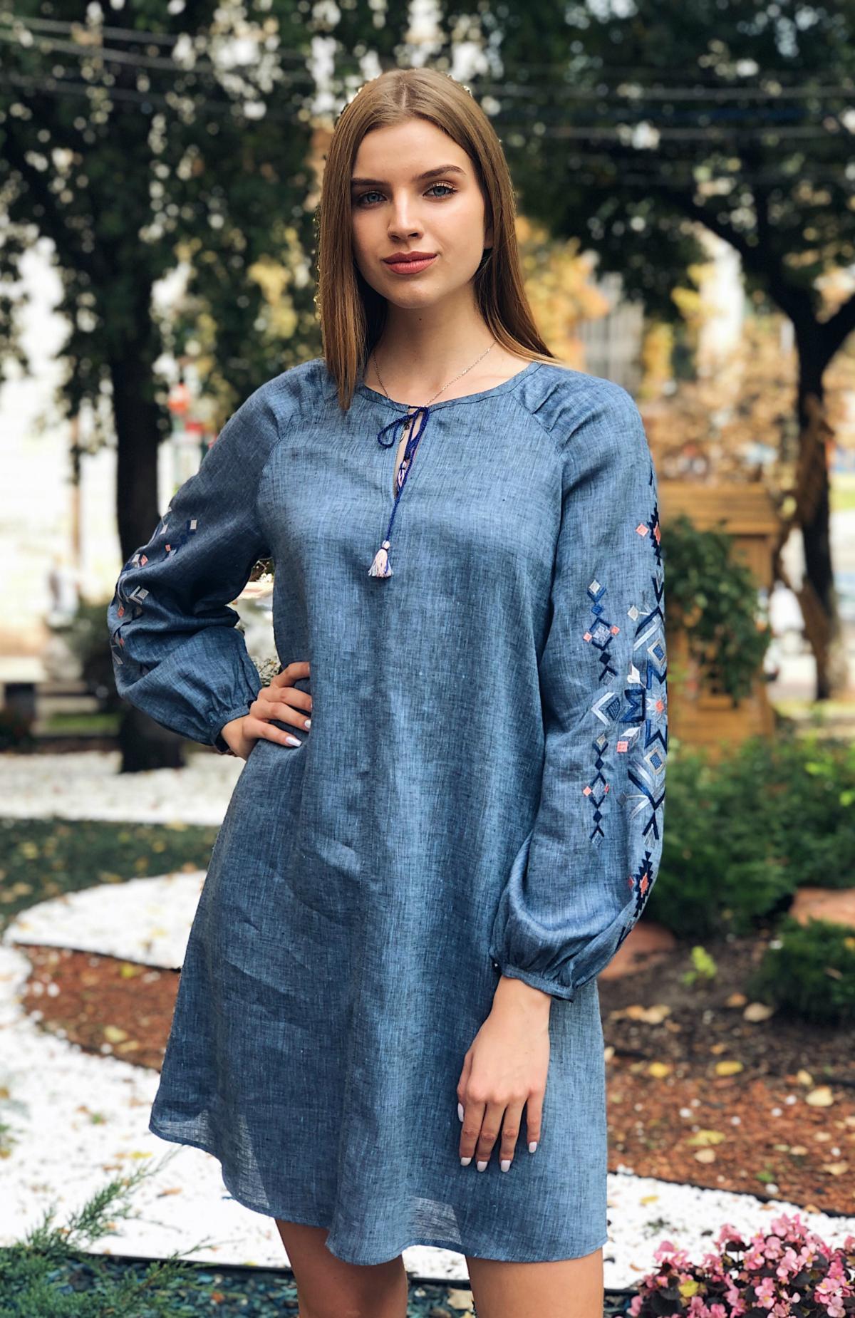 Embroidered dress of blue jeans color. Photo №1. | Narodnyi dim Ukraine