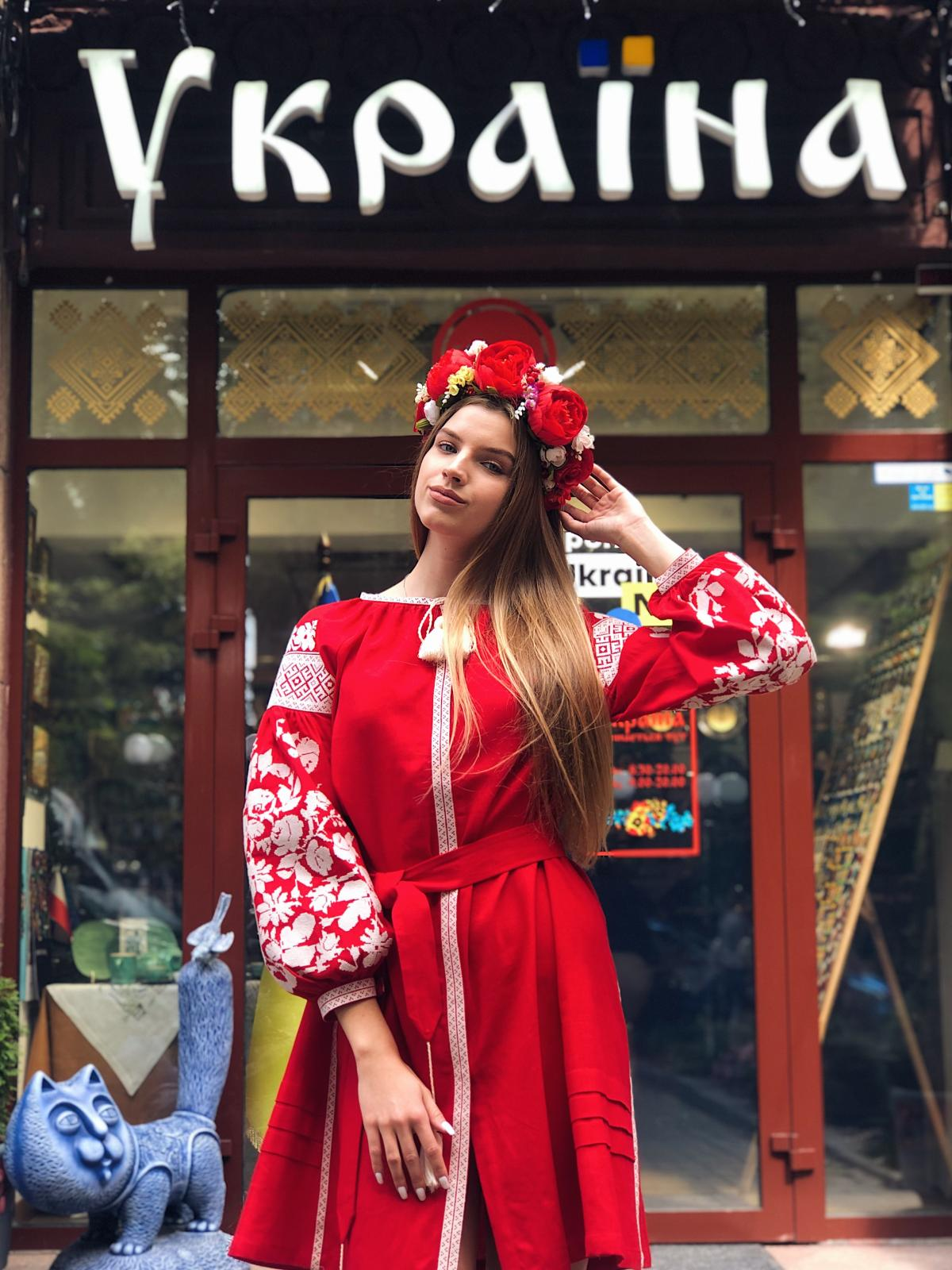 Red embroidered dress with milk floral embroidery. Photo №1. | Narodnyi dim Ukraine