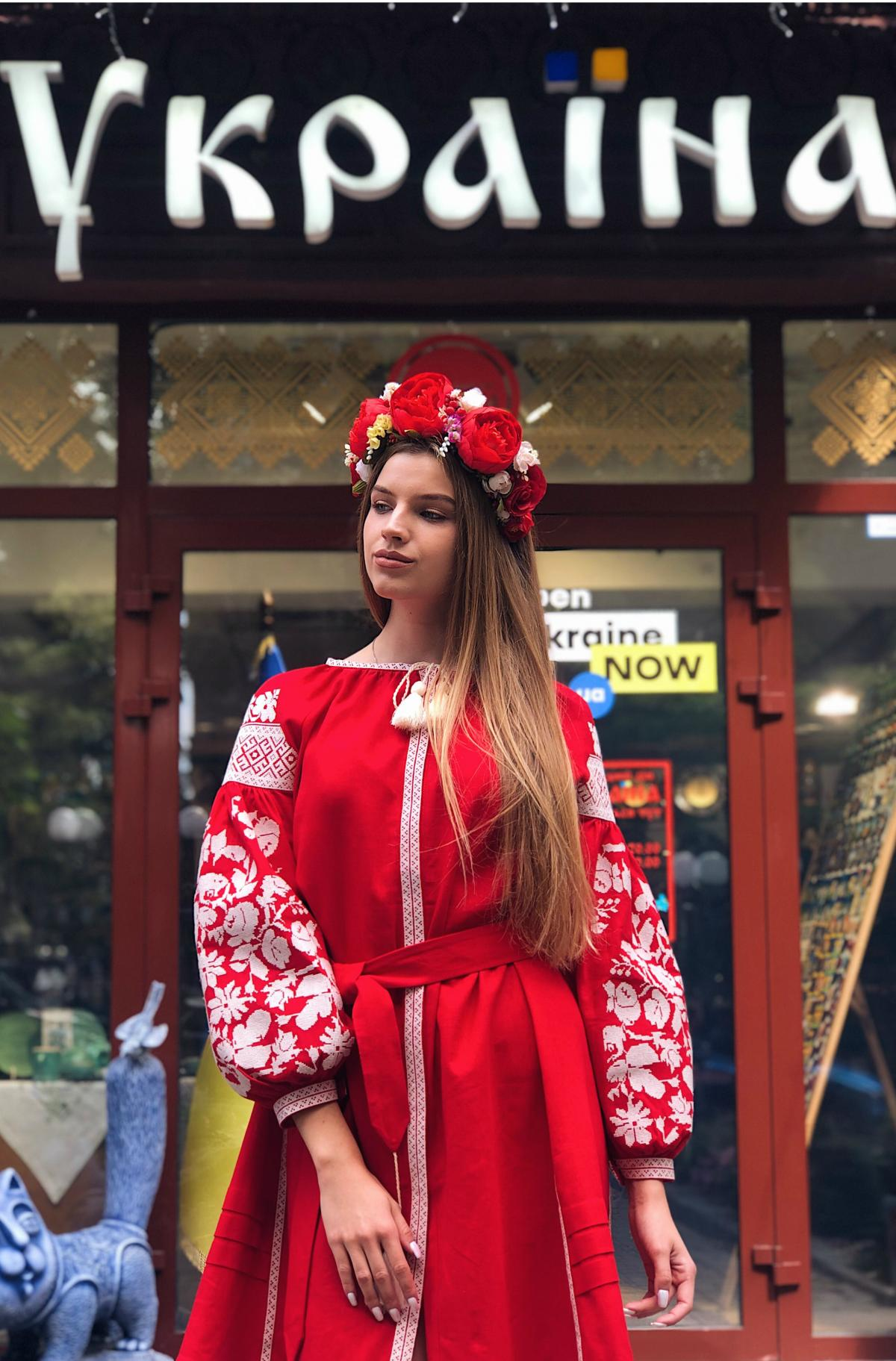 Red embroidered dress with milk floral embroidery. Photo №2. | Narodnyi dim Ukraine