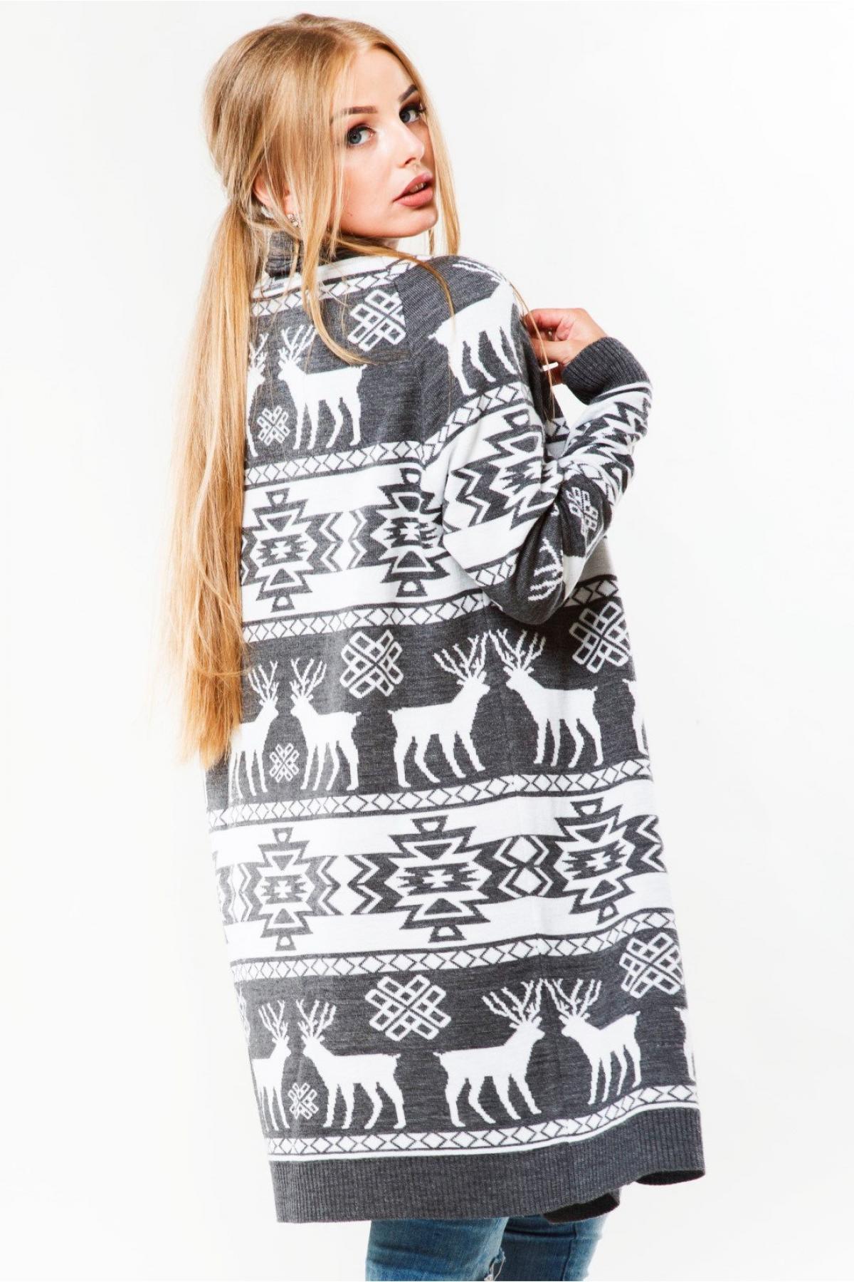 Female gray knitted cardigan. Photo №3. | Narodnyi dim Ukraine
