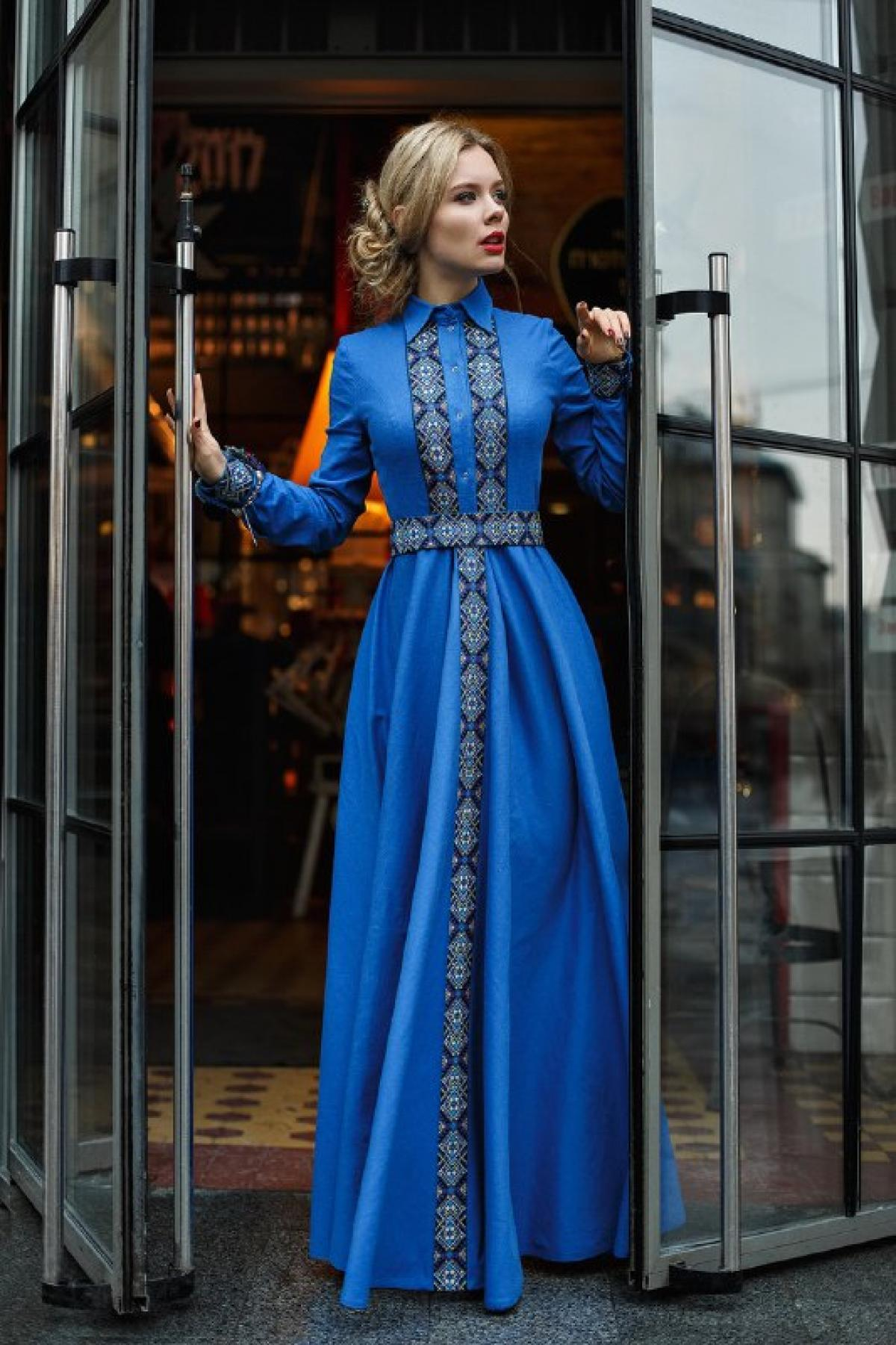 Long elegant festive blue dress with embroidery. Photo №1. | Narodnyi dim Ukraine