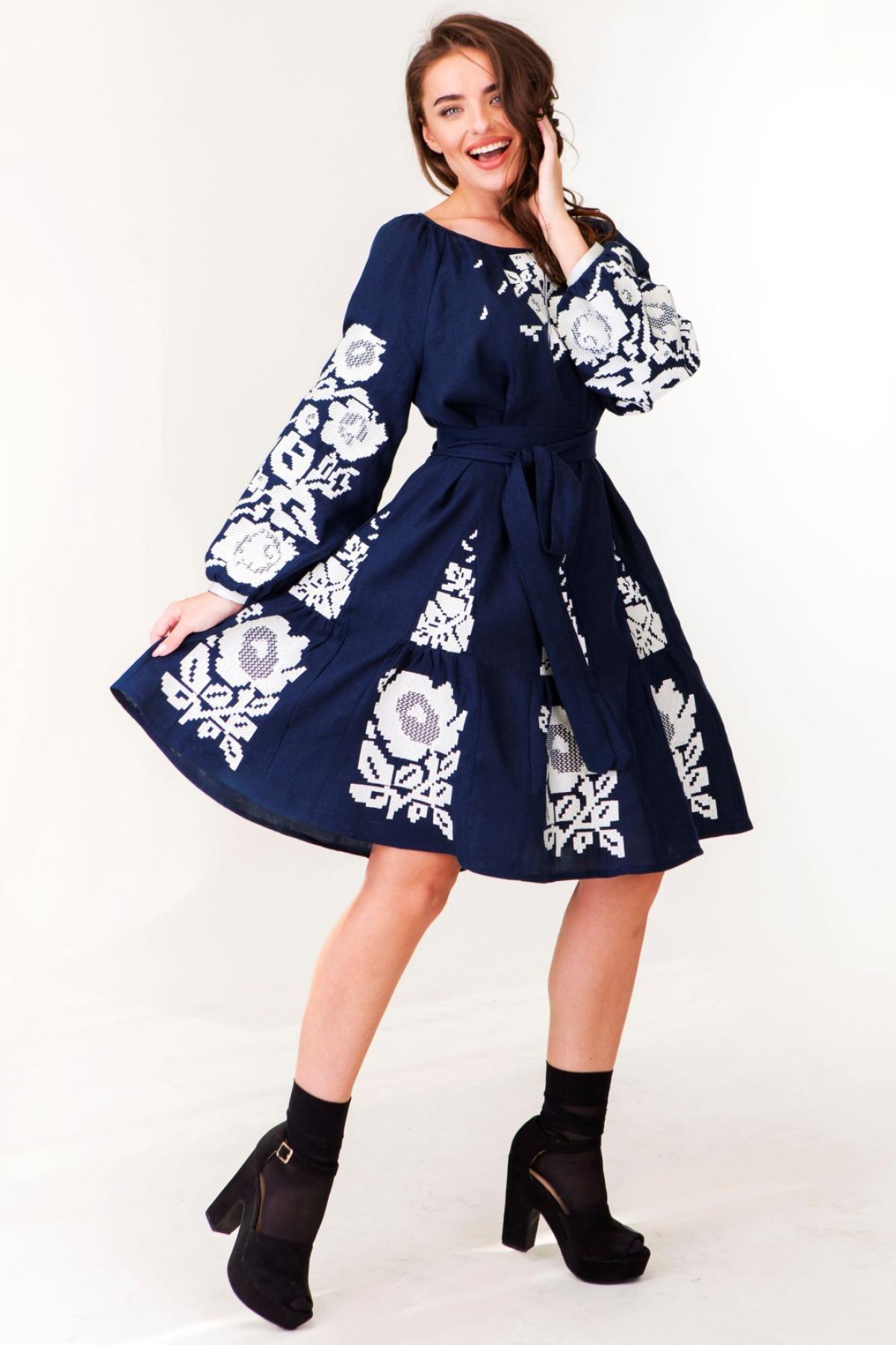 Dark blue linen dress with white embroidered floral pattern. Photo №2. | Narodnyi dim Ukraine
