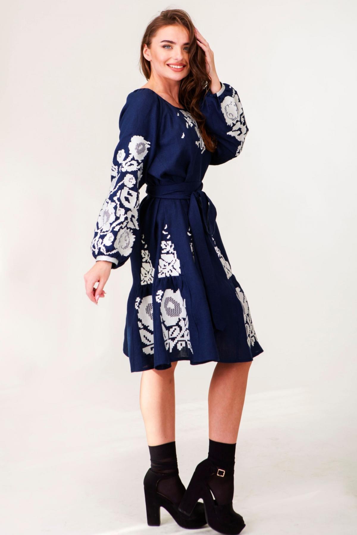 Dark blue linen dress with white embroidered floral pattern. Photo №3. | Narodnyi dim Ukraine