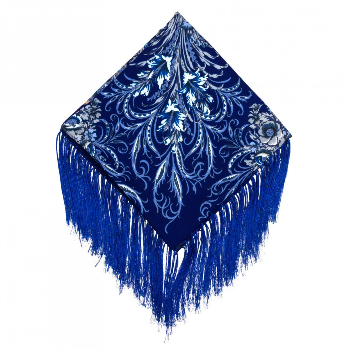 Rich sapphire shawl with white pattern. Photo №1. | Narodnyi dim Ukraine