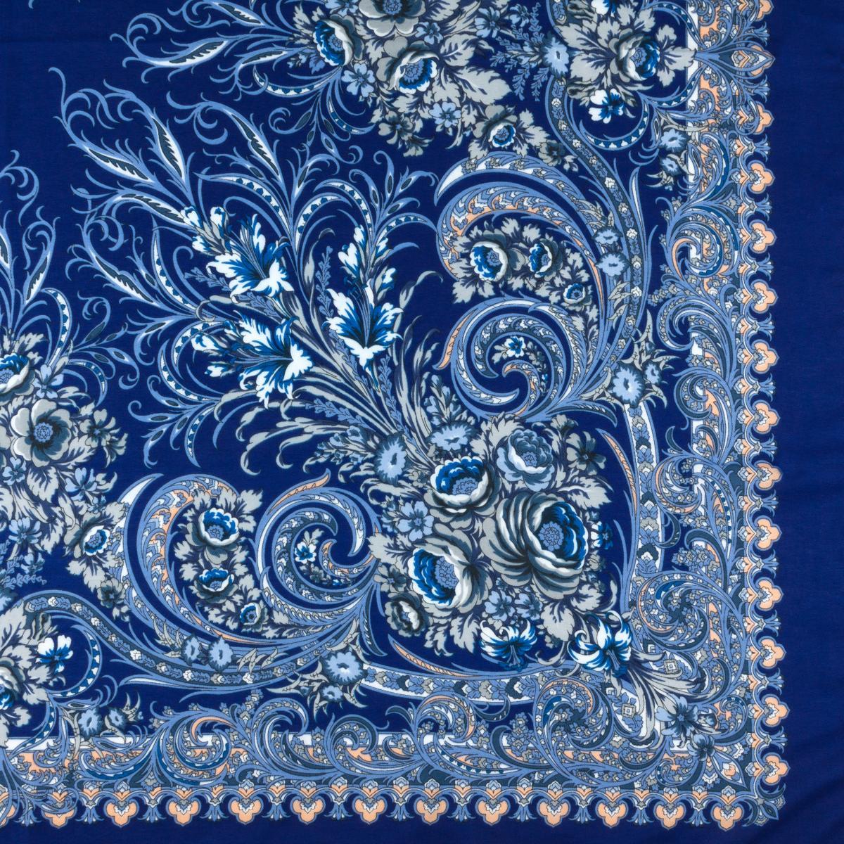 Rich sapphire shawl with white pattern. Photo №2. | Narodnyi dim Ukraine