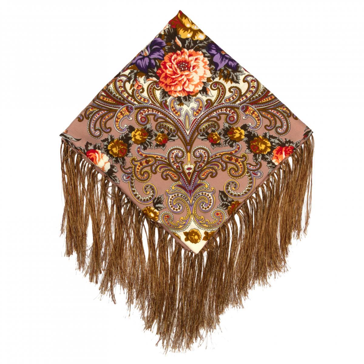 Кофейный платок с цветочным узором. Фото №1. | Народный дом Украина