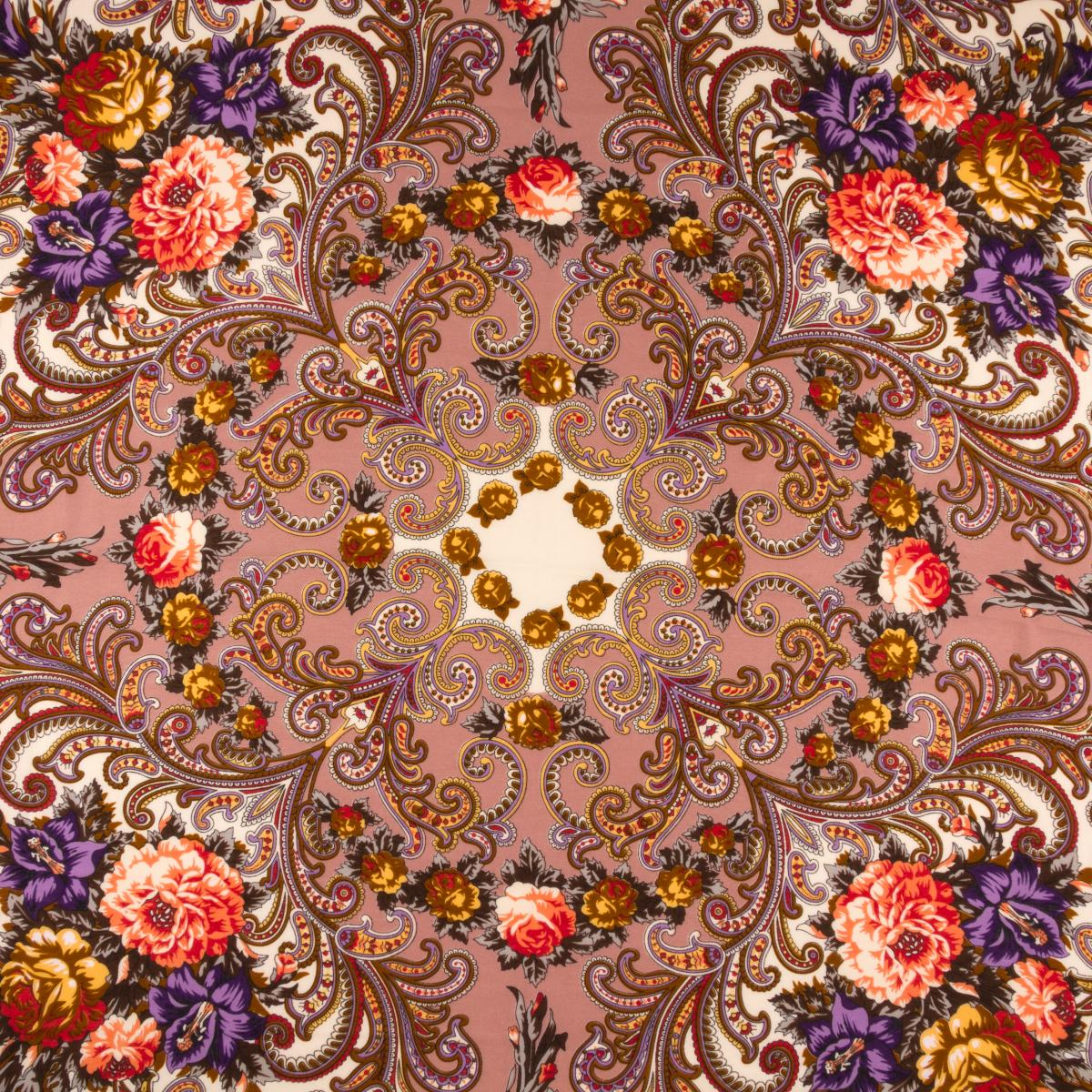 Кофейный платок с цветочным узором. Фото №2. | Народный дом Украина