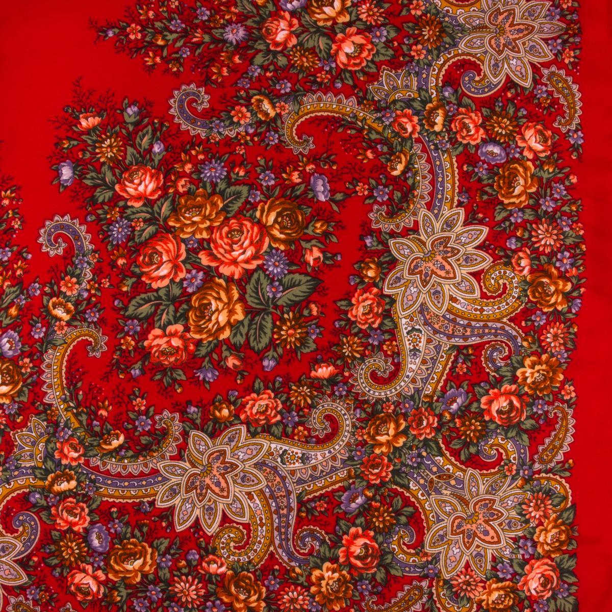 Огненно-красный платок с цветками. Фото №2. | Народный дом Украина